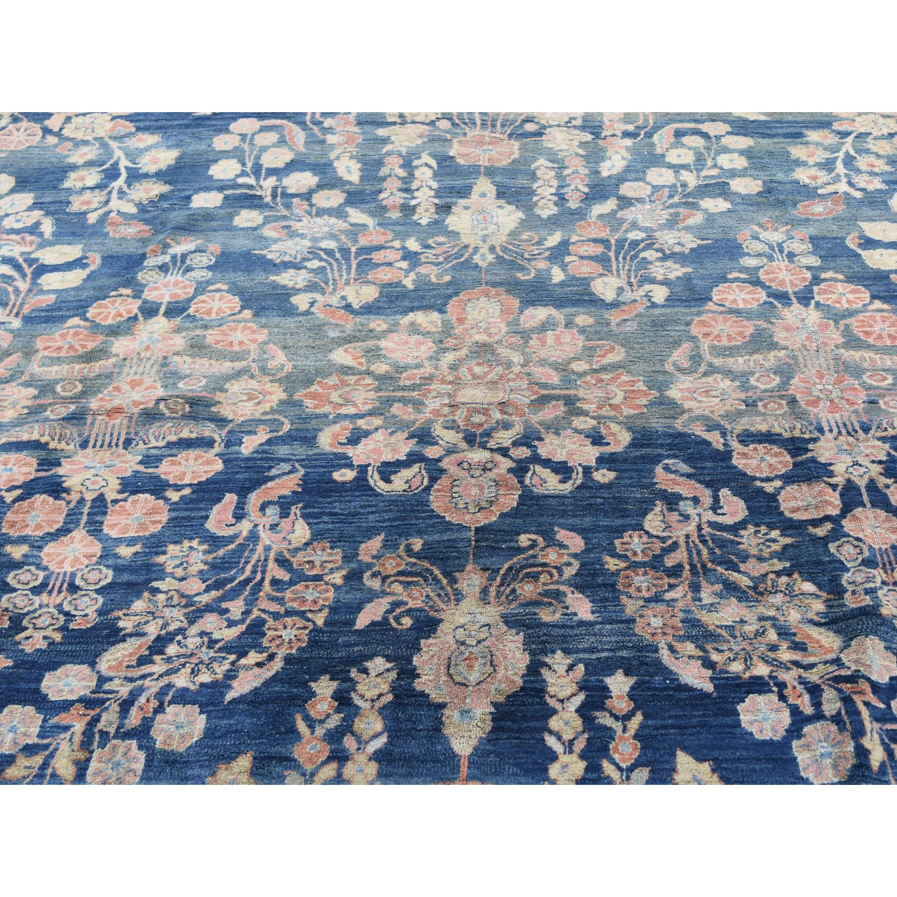 10-7 x14-10  Blue Antique Persian Mohojaren Sarouk Full Soft Pile Abrush Hand Knotted Oriental Rug