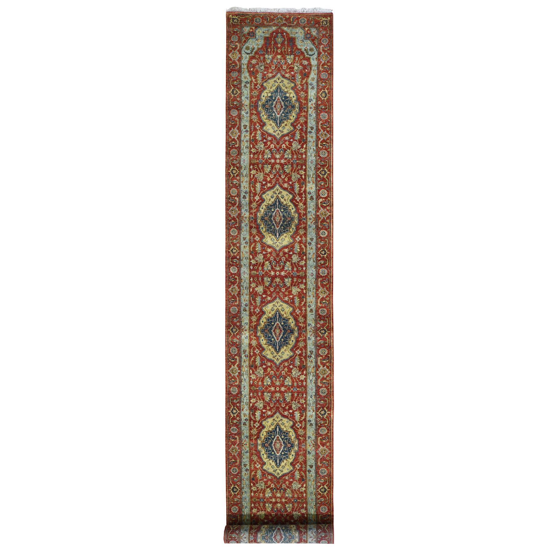 "2'7""X15'7"" Red Antiqued Heriz Xl Runner Pure Wool Hand Knotted Oriental Rug moad80d0"