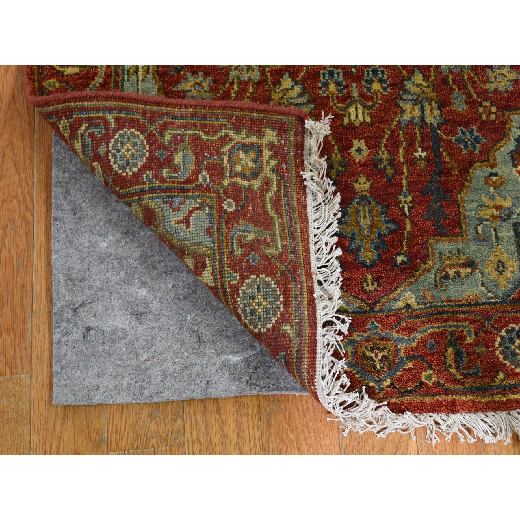 2-7 x15-7  Red Antiqued Heriz XL Runner Pure Wool Hand Knotted Oriental Rug