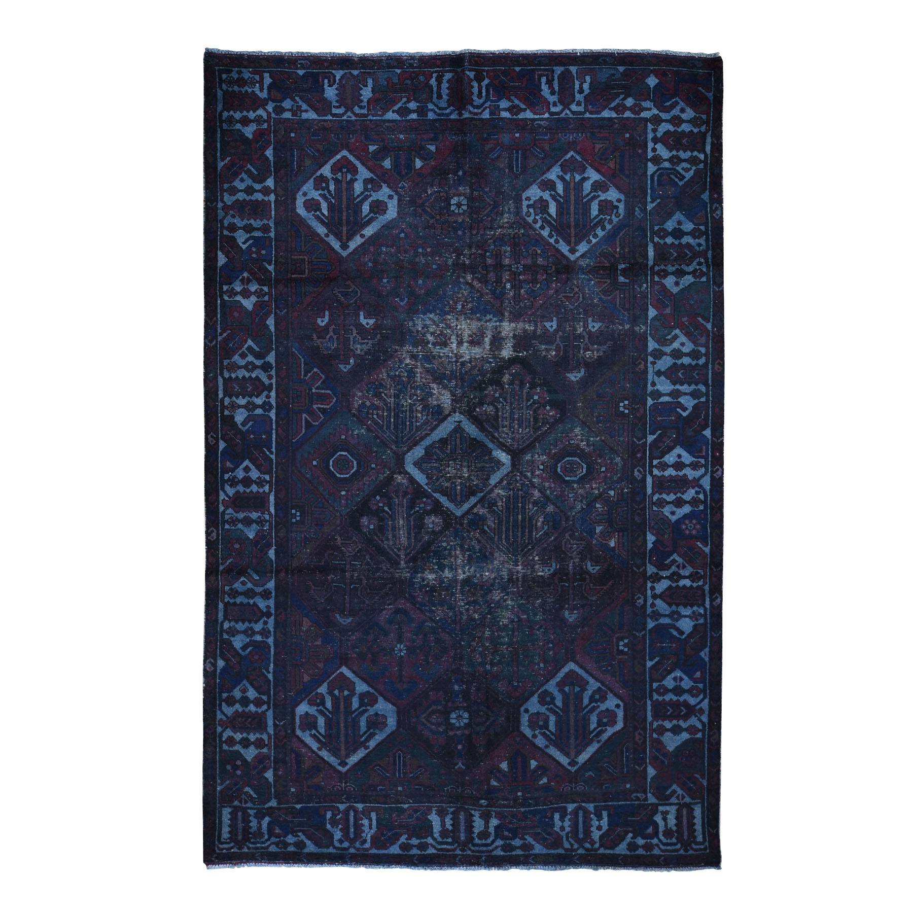 """6'8""""x10'5"""" Pure Wool Overdyed Persian Bakhtiar Vintage Hand Knotted Rug"""
