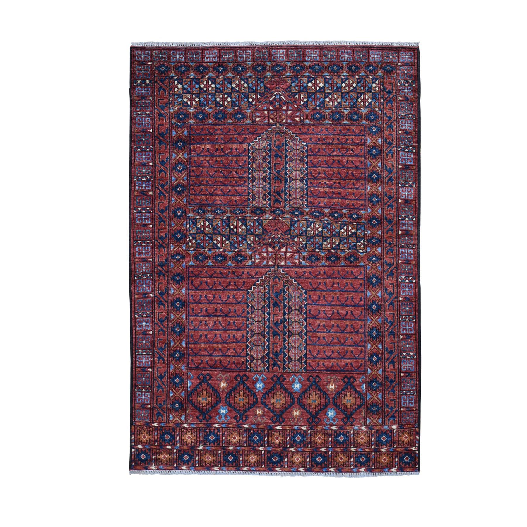 "4'9""x6'4"" Afghan Ersari Hutchlu Design Pure Wool Hand Knotted Oriental Rug"