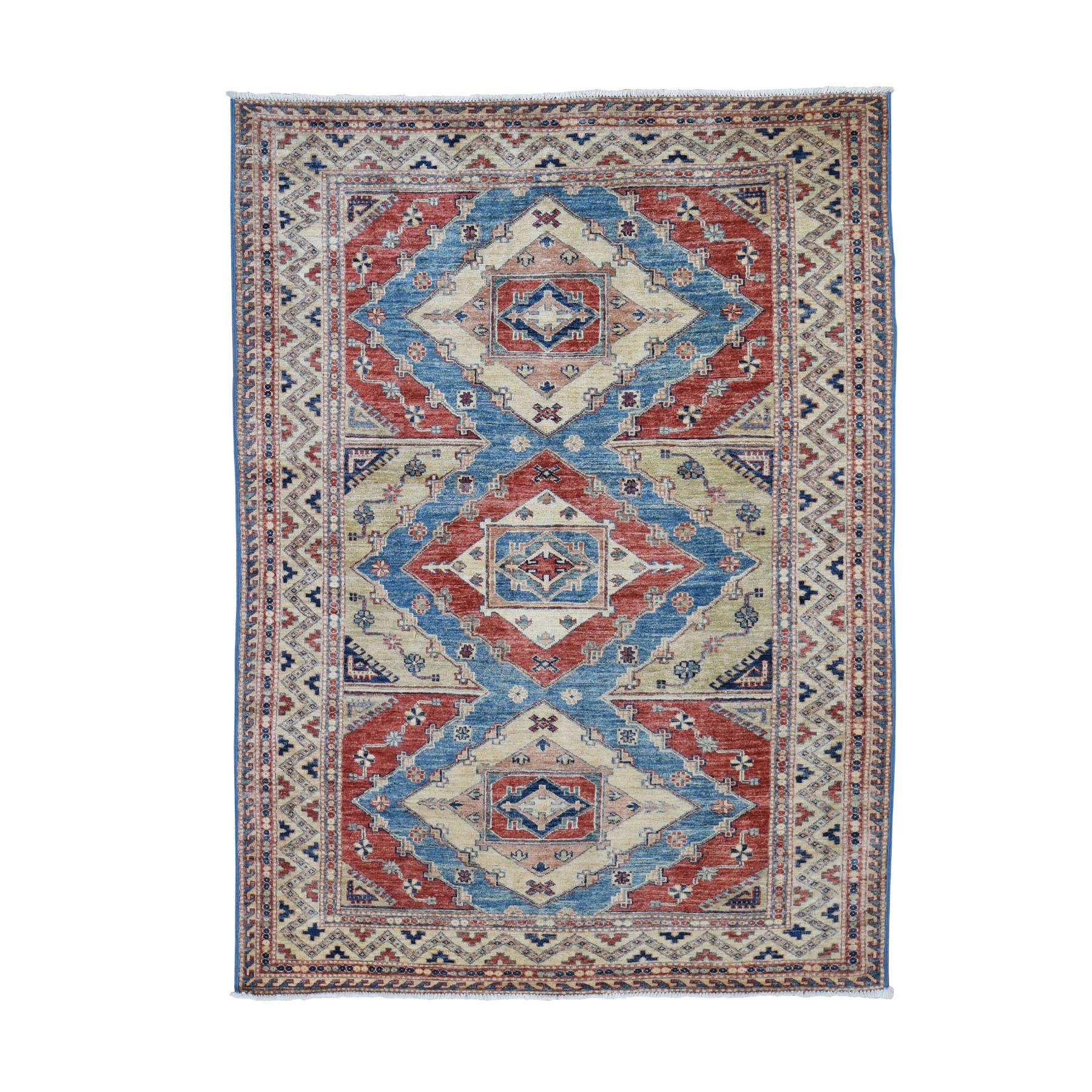 "4'7""X6'7"" Beige Super Kazak Pure Wool Geometric Design Hand Knotted Oriental Rug moad80ea"