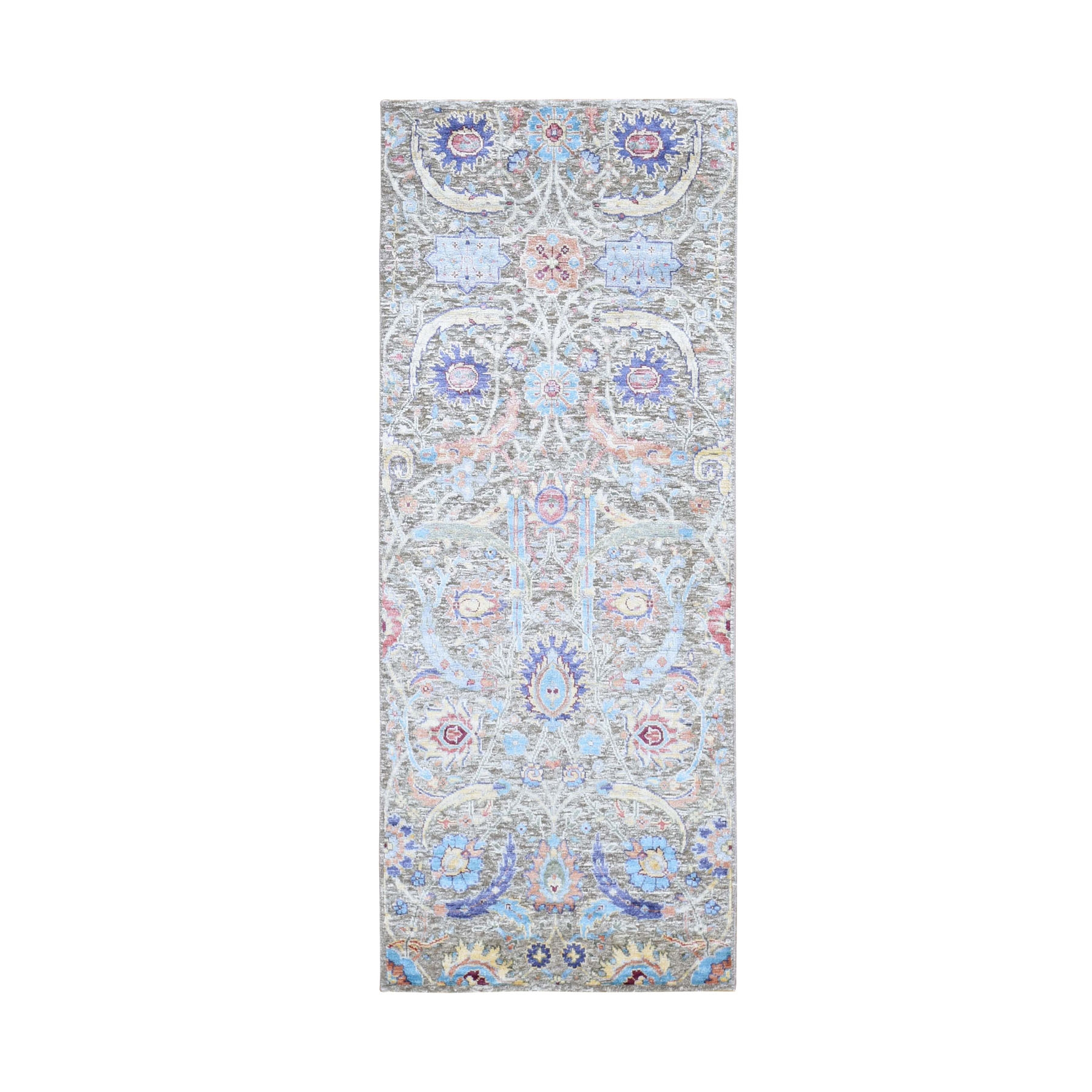 "2'5""x6'2"" Sickle Leaf Design Silk With Textured Wool Runner Hand Knotted Oriental Rug"