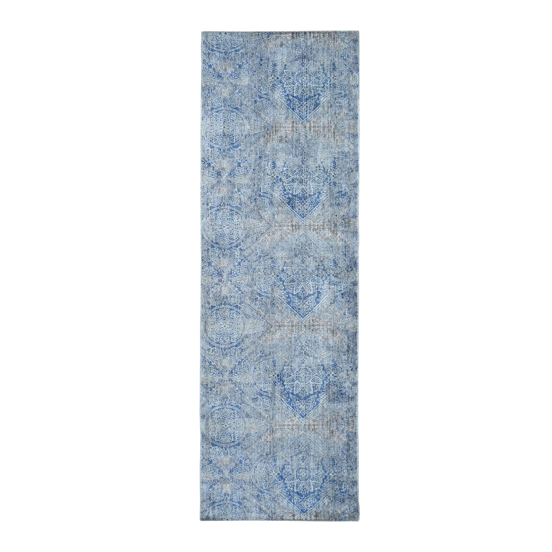"2'8""x8'9"" ERASED ROSSETS,Silk With Textured Wool Denim Blue Runner Hand-Knotted Oriental Rug"