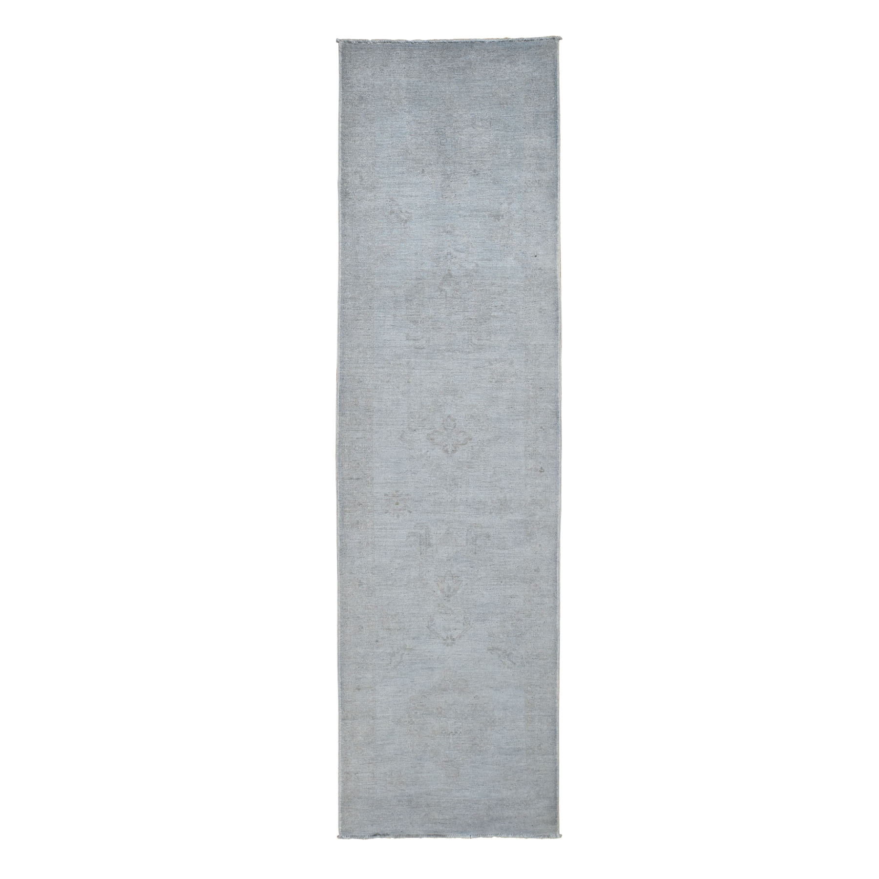 """2'7""""X9'8"""" Silver Wash Peshawar Pure Wool Runner Hand Knotted Oriental Rug moad80e9"""