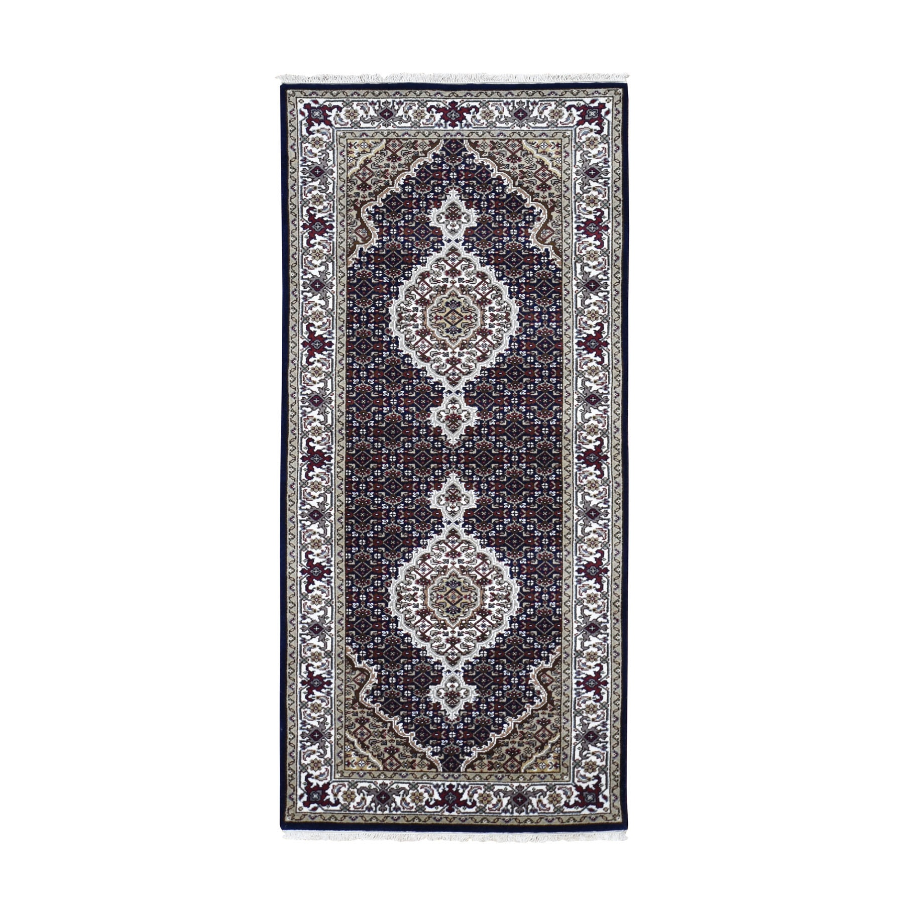 "2'7""X5'10"" Black Tabriz Mahi Wool And Silk Runner Hand Knotted Oriental Rug moad806b"