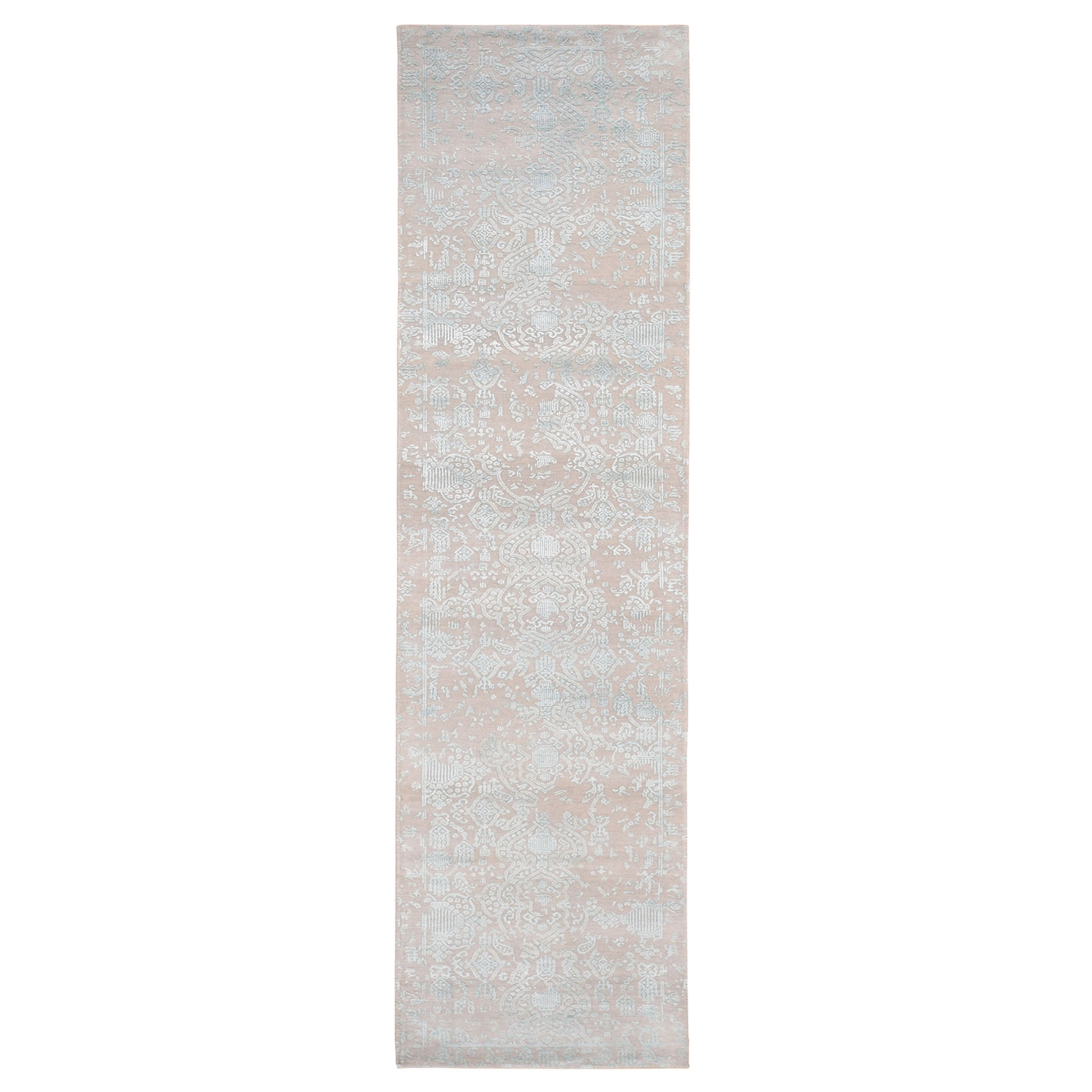Jewellery Design Wool And Silk Tone On Tone Runner Hand Knotted Oriental Rug moad806c