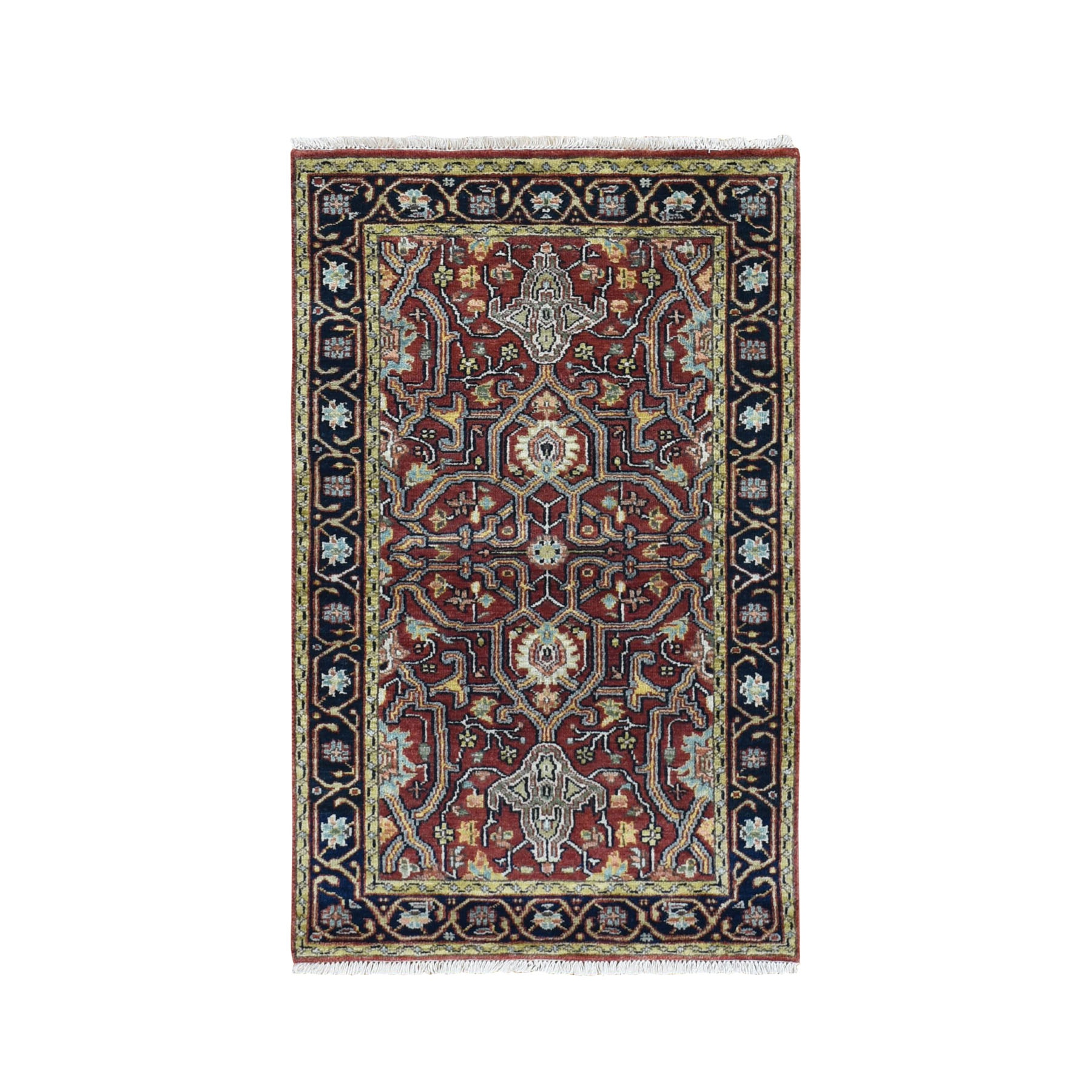 3-x5- Red Heriz Revival Pure Wool Hand Knotted Oriental Rug