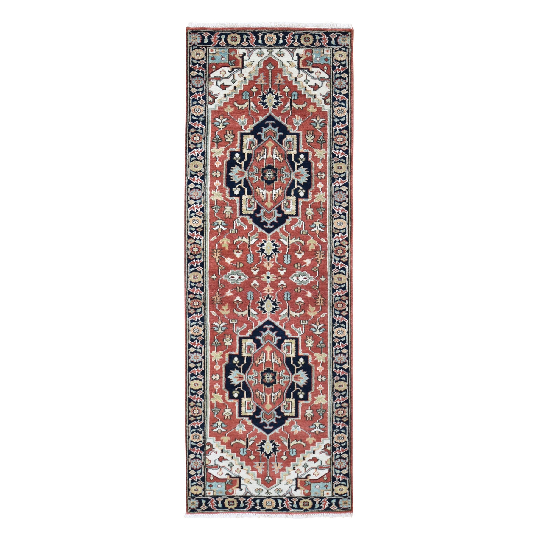 "2'5""X8'  Antiqued Heriz Re-Creation Pure Wool Runner Hand Knotted Oriental Rug moad8067"