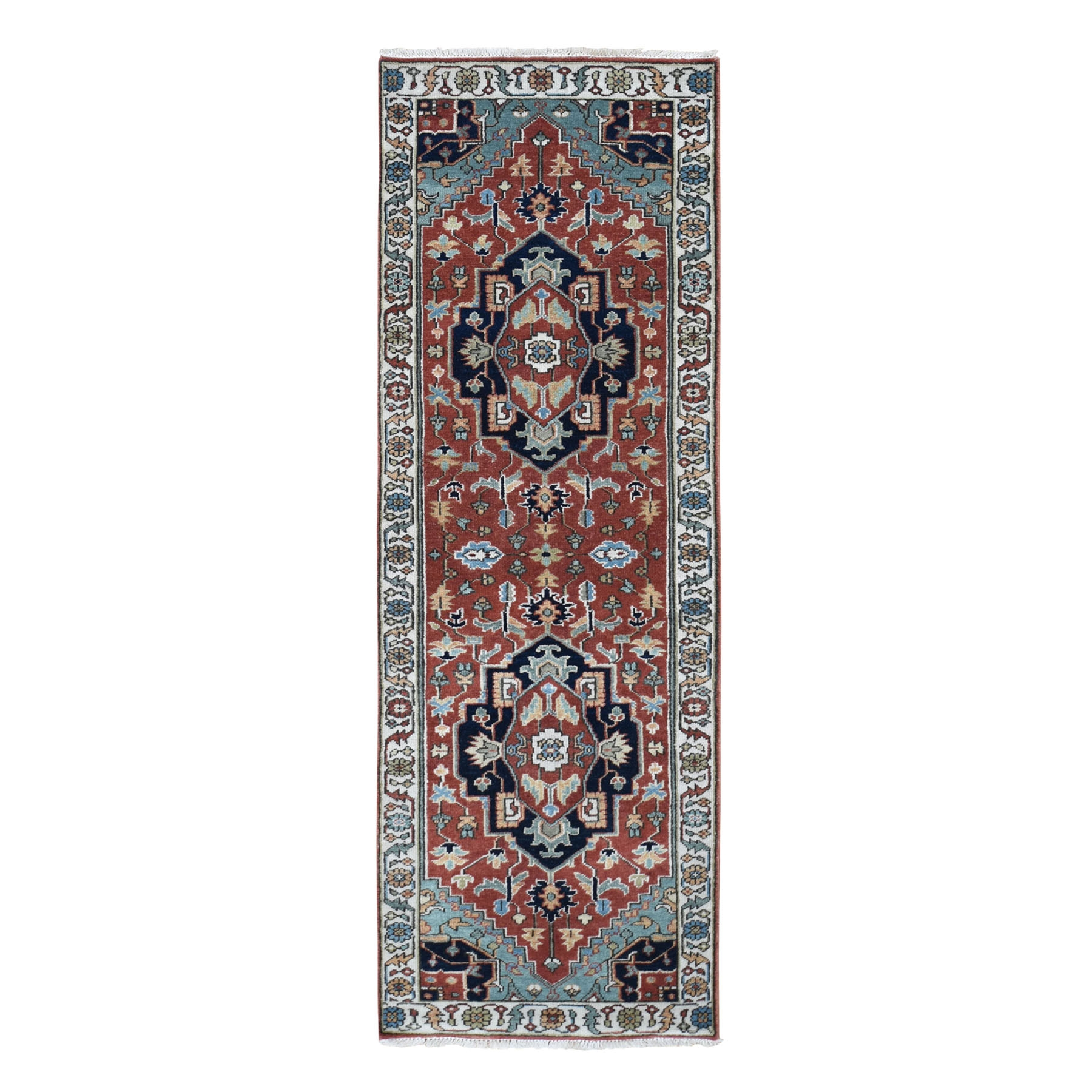 "2'6""X8' Red Heriz Revival Pure Wool Runner Hand Knotted Oriental Rug moad807b"