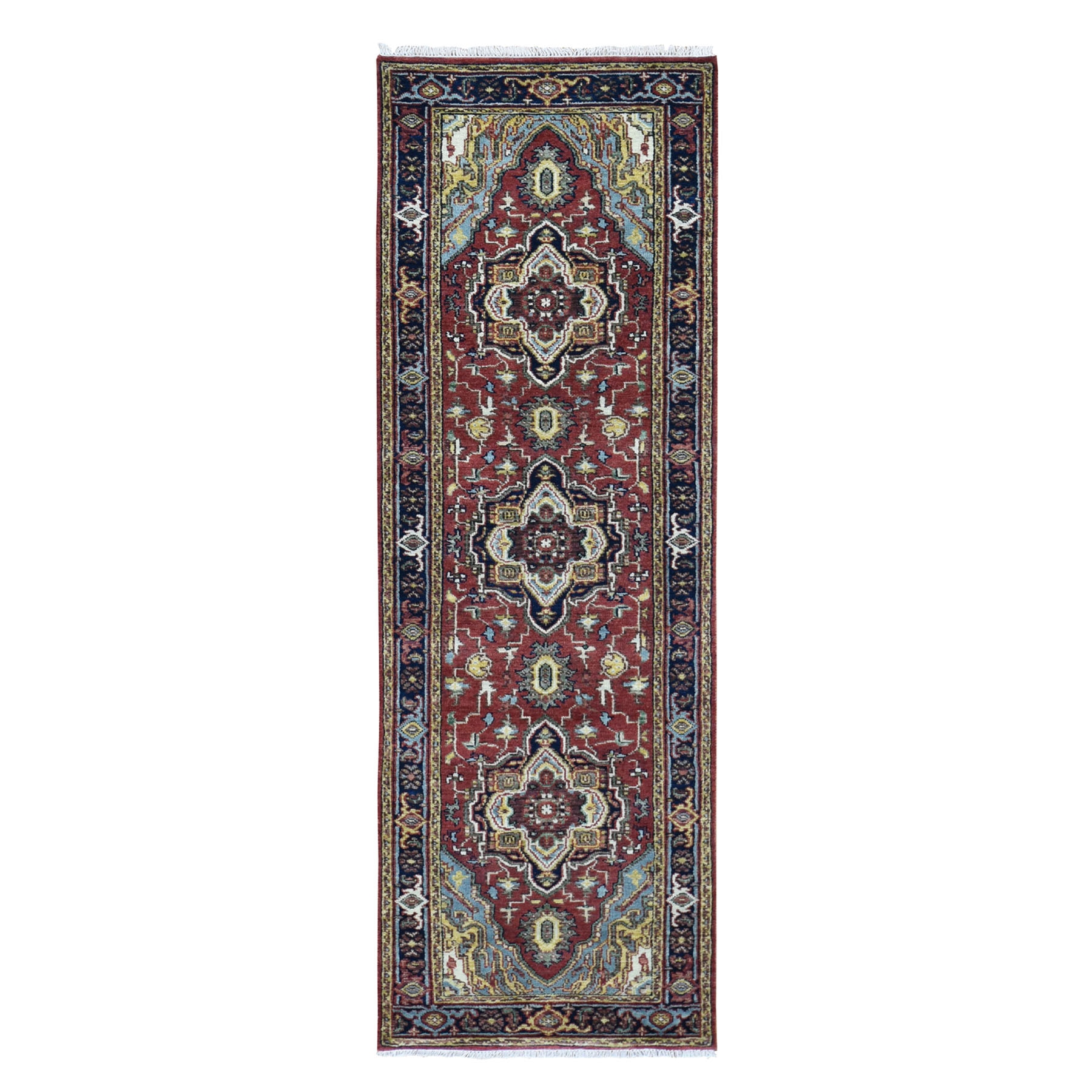 "2'5""X8' Red Heriz Revival Pure Wool Hand-Knotted Oriental Runner Rug moad8076"