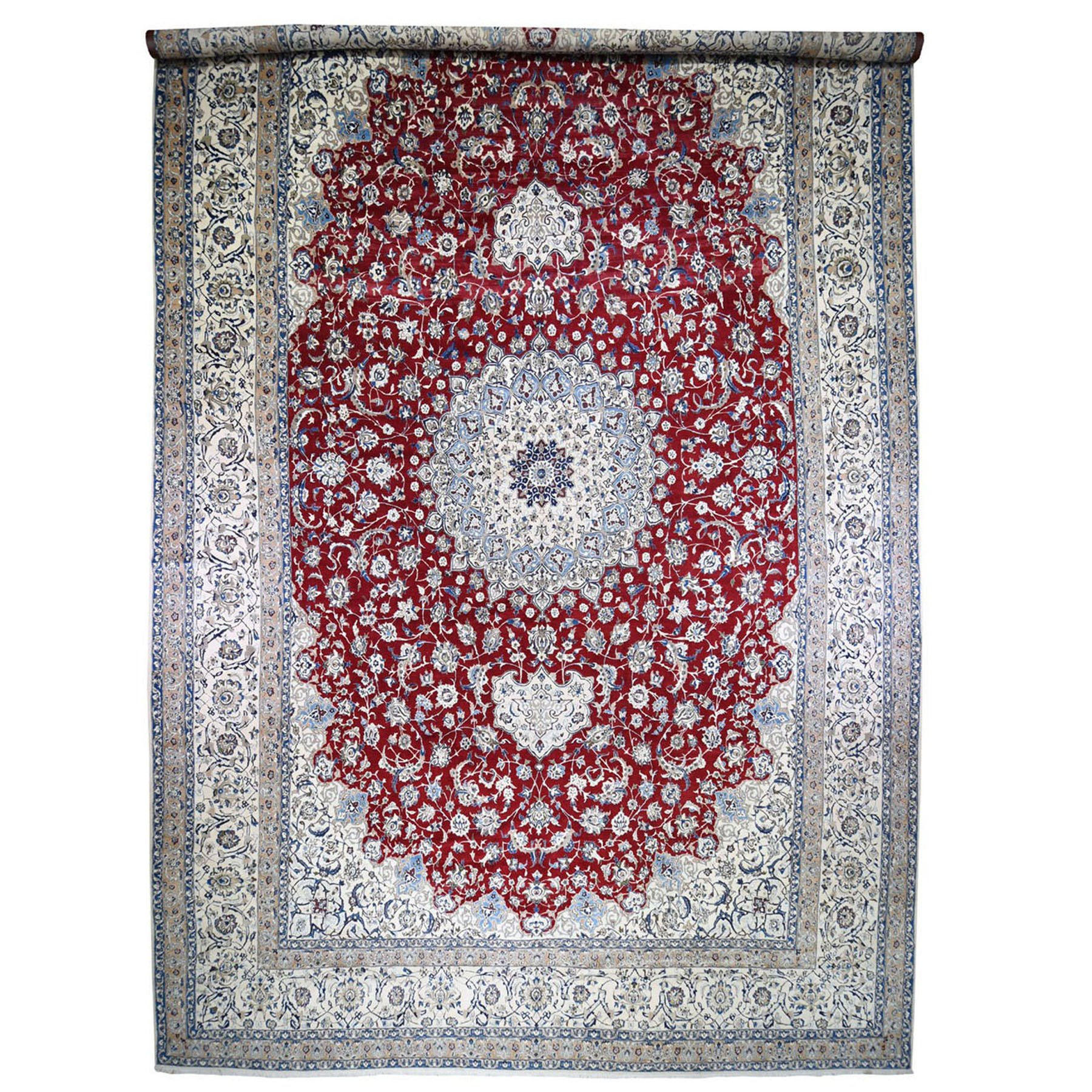 "16'2""x26'6' Mansion Size Wool And Silk 250 KPSI Persian Nain Hand Knotted Oriental Rug"