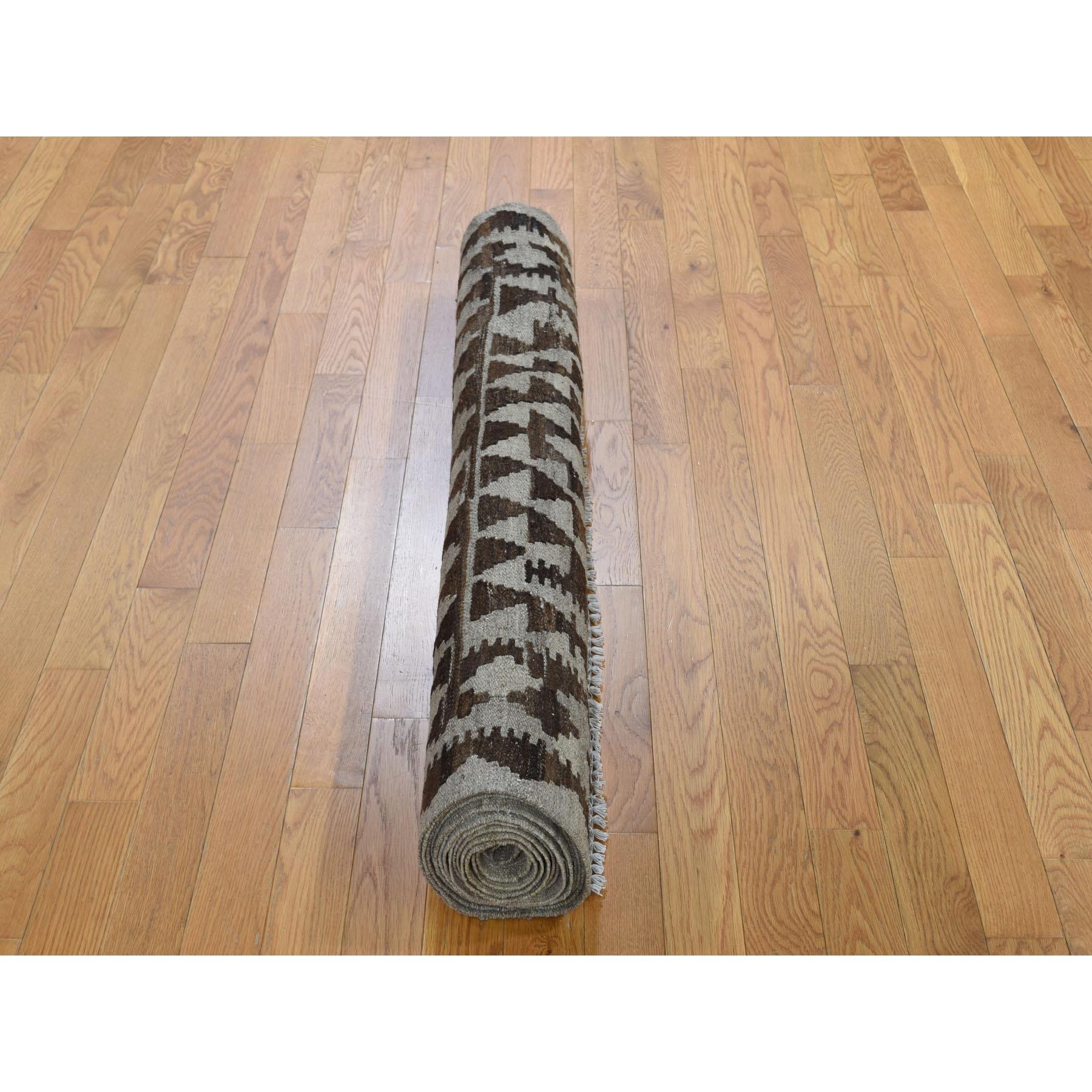 4-1 x16-4  Undyed Natural Wool Afghan Kilim Reversible XL Runner Hand Woven Oriental Rug
