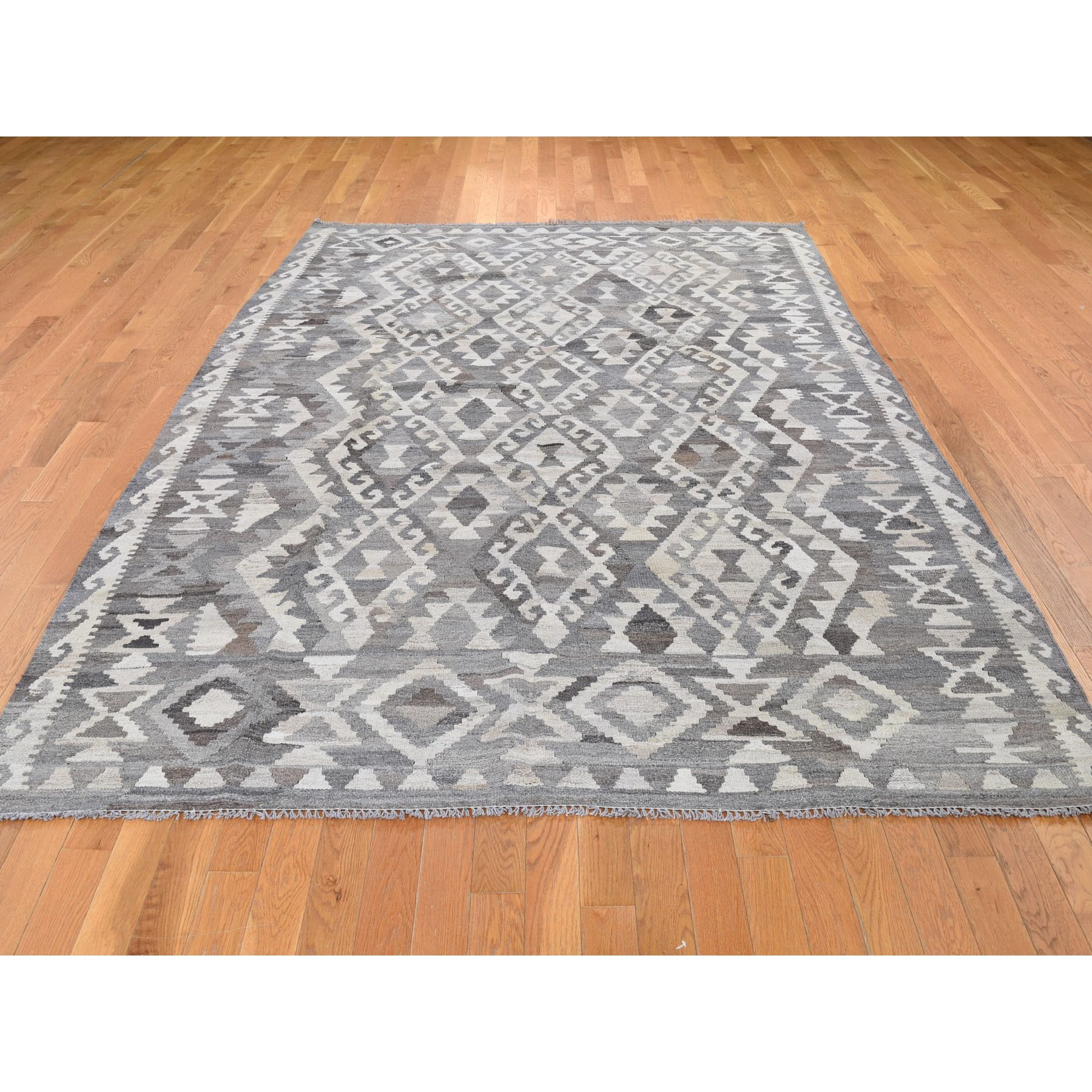 6-9 x9-9  Undyed Natural Wool Afghan Kilim Reversible Hand Woven Oriental Rug