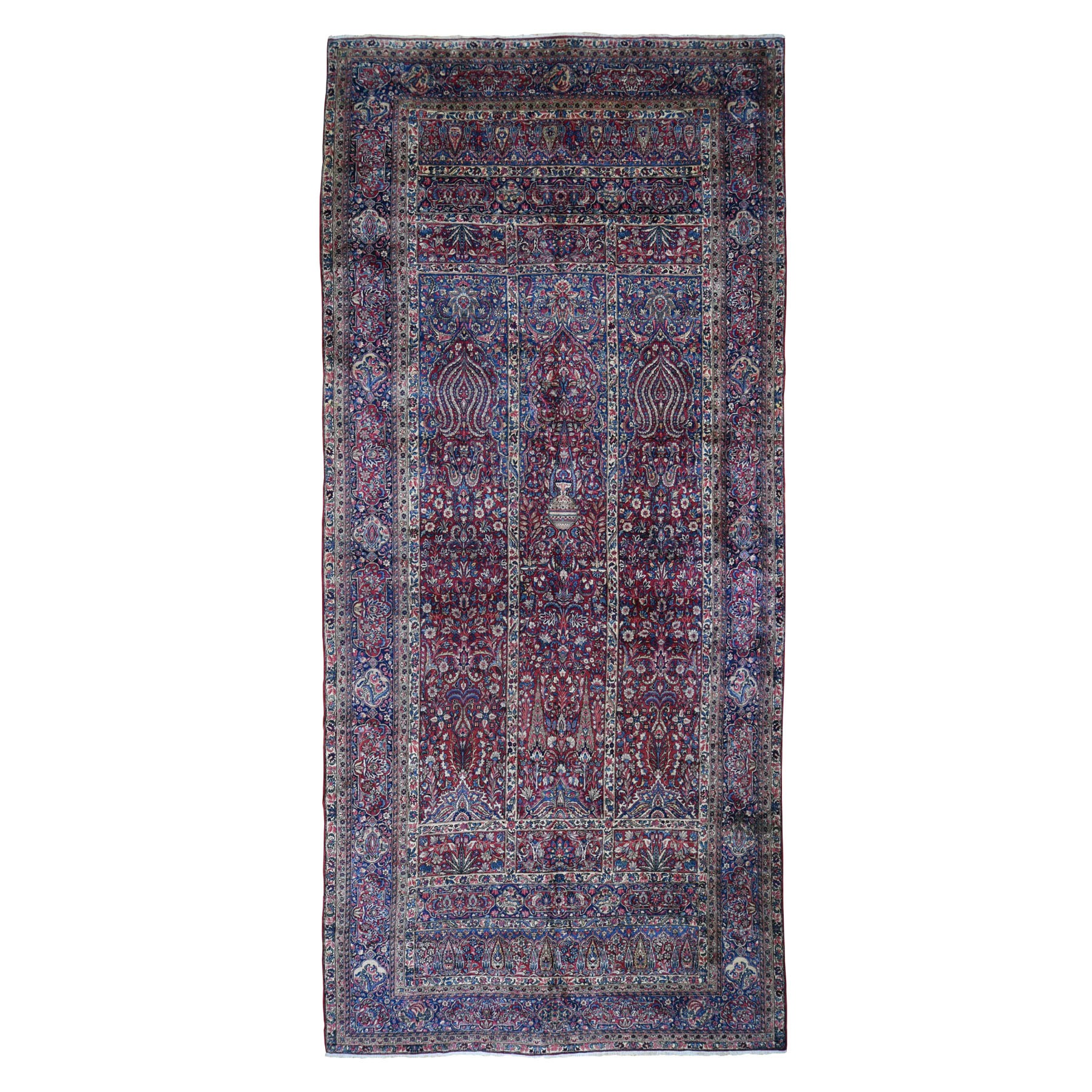 "8'9""x19'9"" Long And Narrow Red Antique Persian Kerman Full Pile Soft And Clean Hanging Lamps Hand Knotted Oriental Rug"