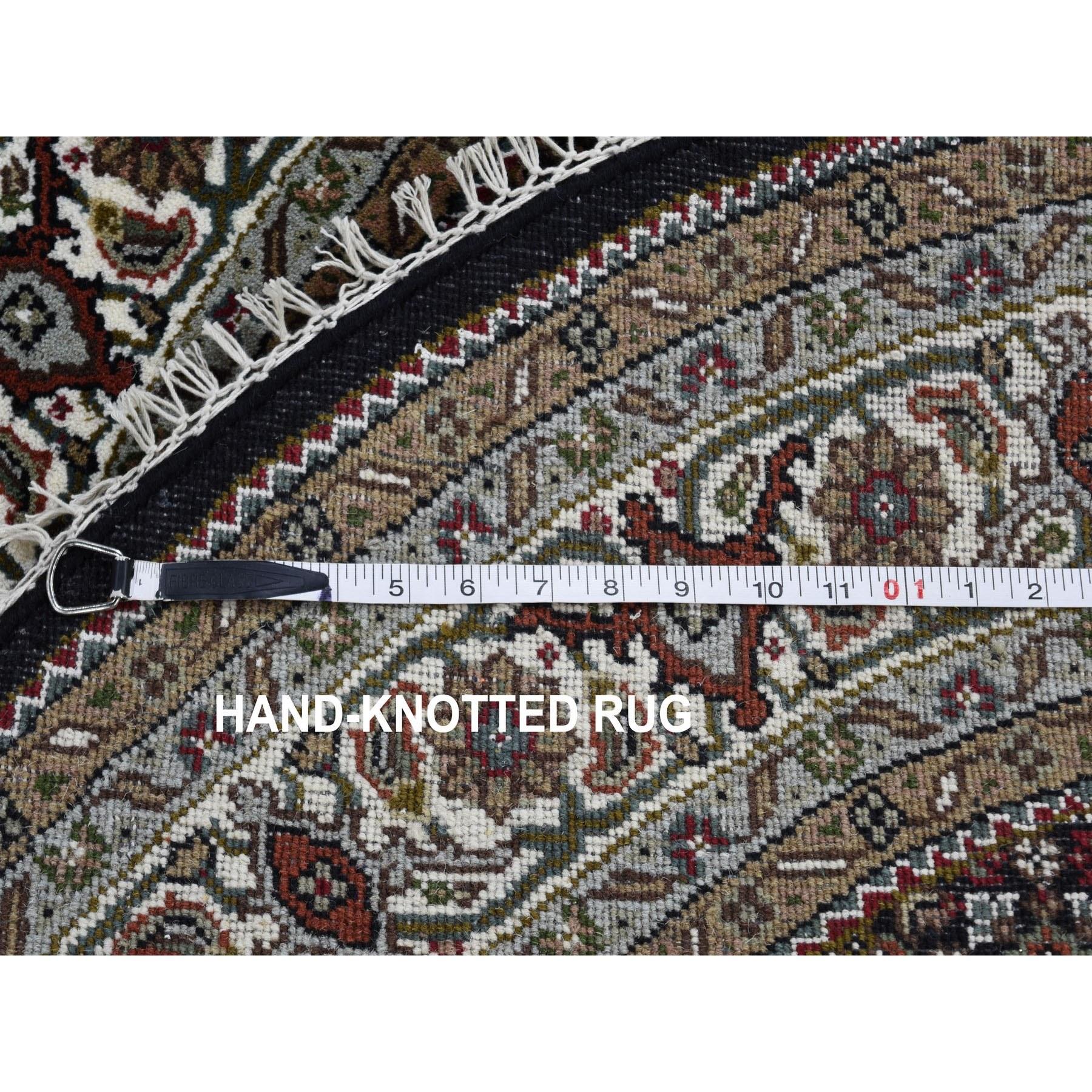 5-x5- Round Black Tabriz Mahi Wool and Silk Hand Knotted Oriental Rug