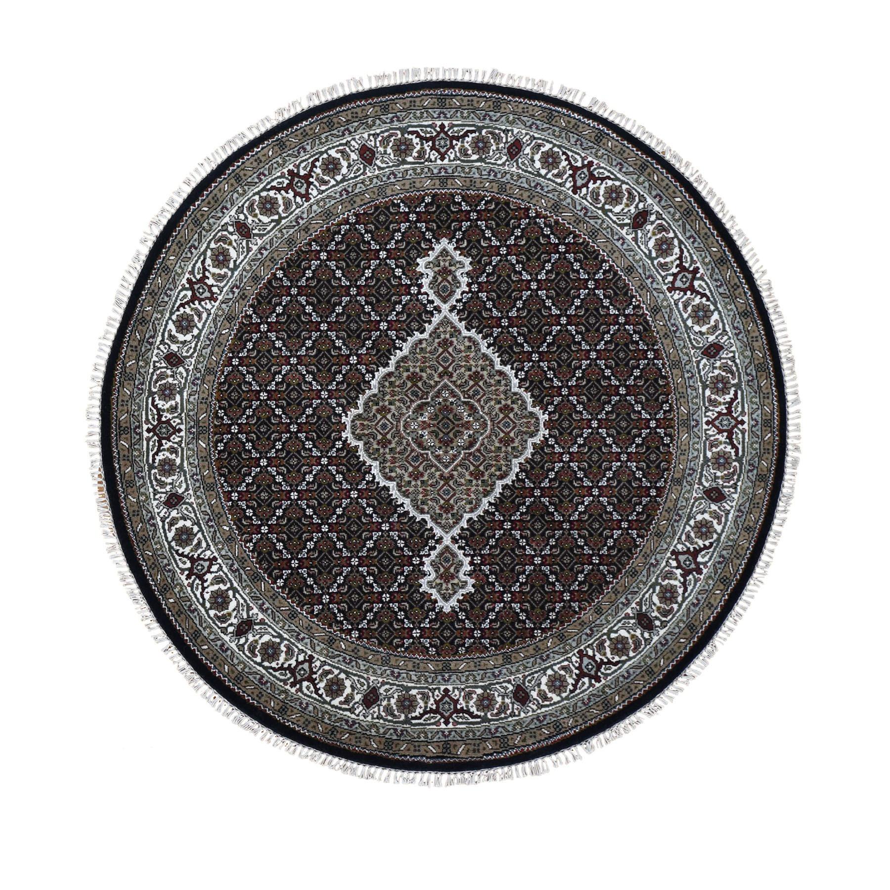 "5'2""x5'2"" Round Black Tabriz Mahi Wool and Silk Hand Knotted Oriental Rug"