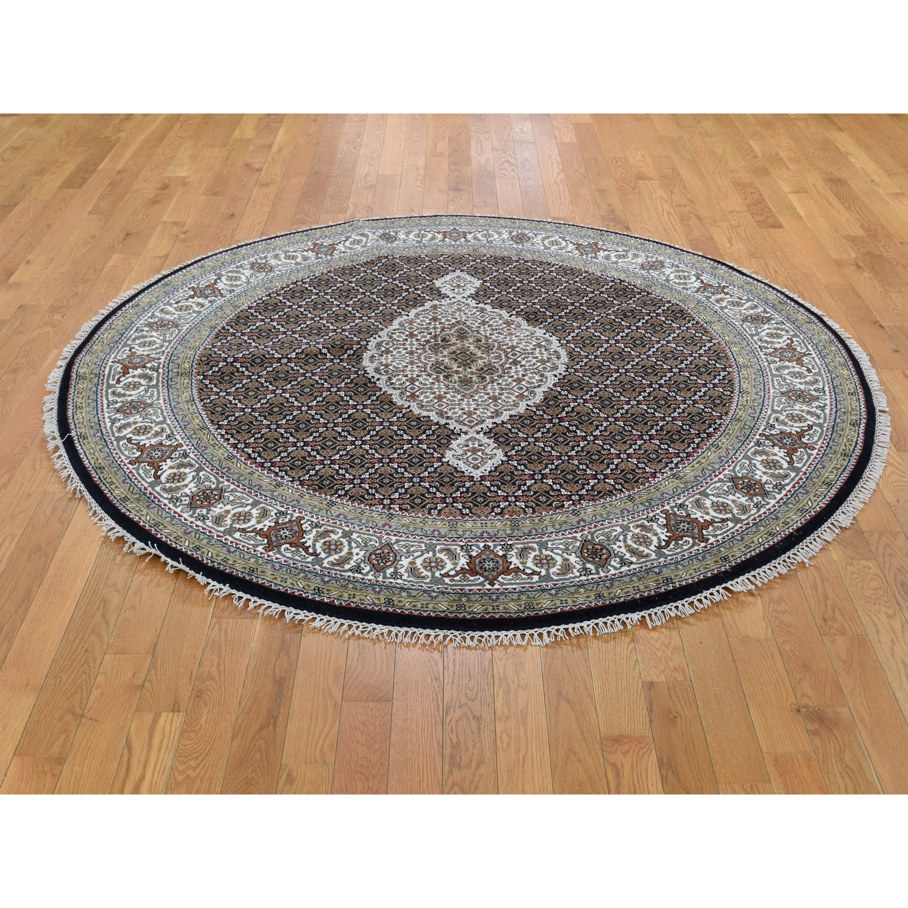 6-5 x6-5  Round Black Tabriz Mahi Wool and Silk Hand Knotted Oriental Rug