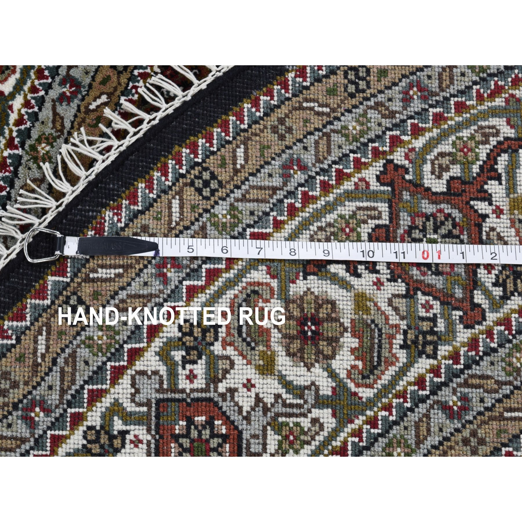6-7 x6-7  Round Black Tabriz Mahi Wool and Silk Hand Knotted Oriental Rug