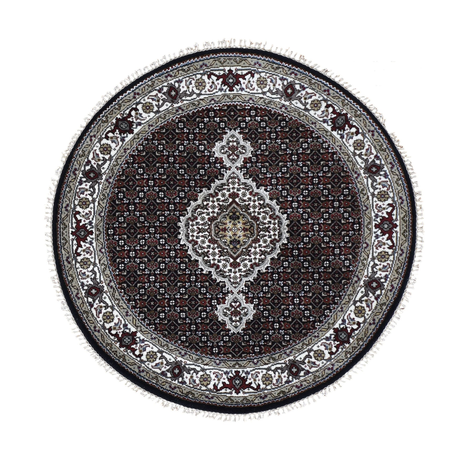"4'1""X4'1"" Round Black Tabriz Mahi Wool And Silk Hand Knotted Oriental Rug moad809b"