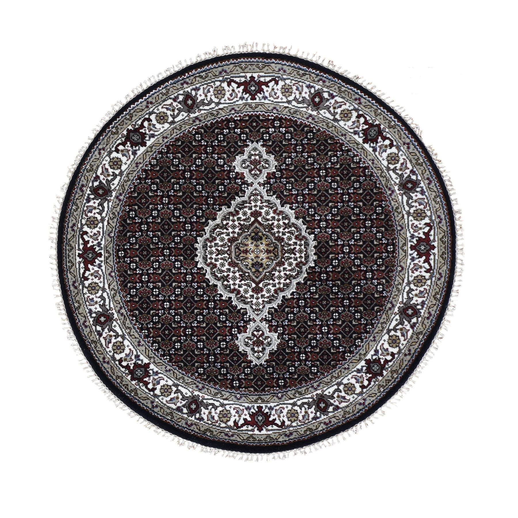 "4'1""x4'1"" Round Black Tabriz Mahi Wool and Silk Hand Knotted Oriental Rug"
