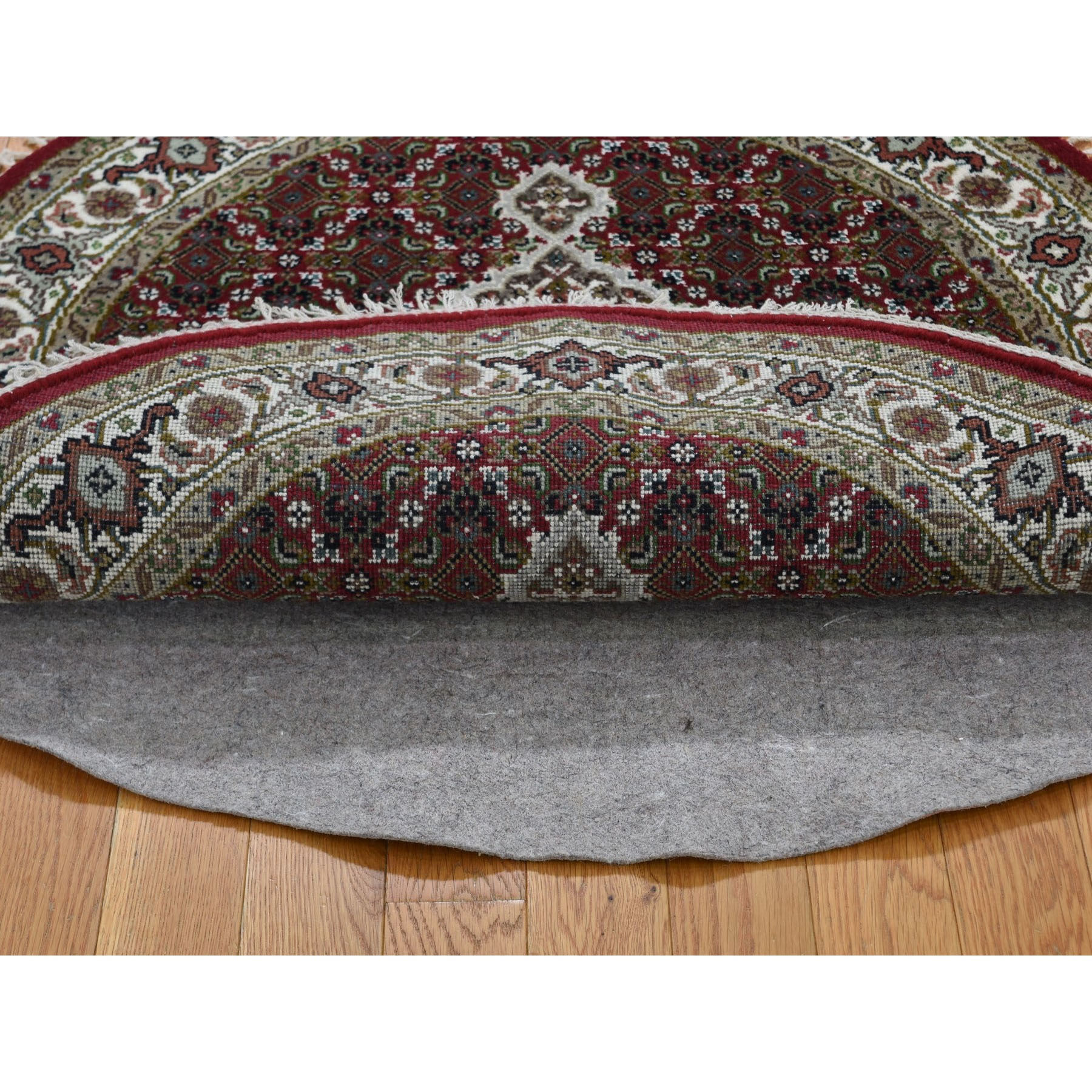 3-4 x3-4  Round Red Tabriz Mahi Wool and Silk Hand Knotted Oriental Rug