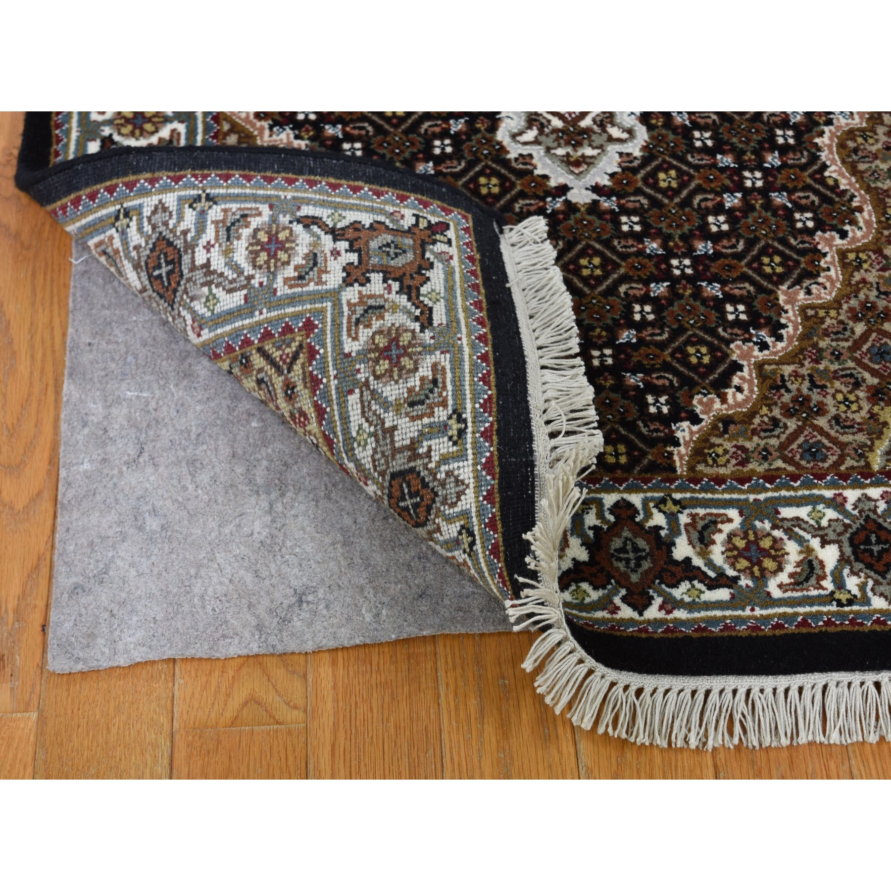 "2'8""x20'4"" Black Tabriz Mahi Wool and Silk XL Runner Hand Knotted Oriental Rug"