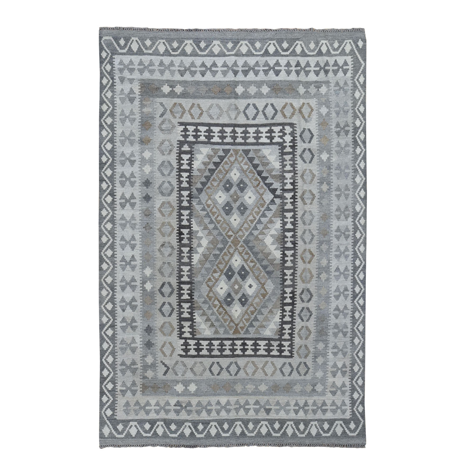 "5'8""X8'1""  Undyed Natural Wool Afghan Kilim Reversible Hand Woven Oriental Rug moad8097"