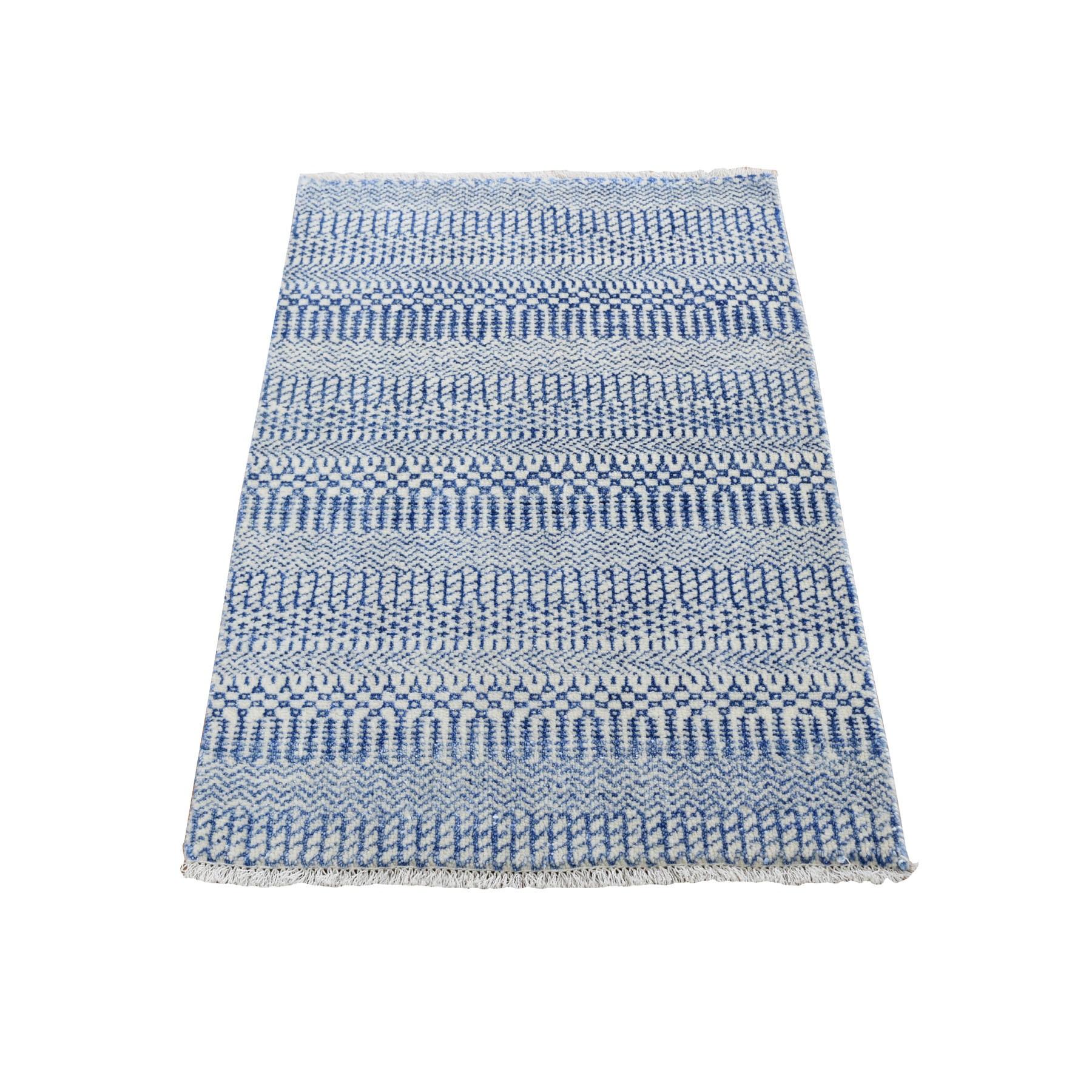 2'x3' Blue Modern Gabbeh Hand Knotted Grass Design Oriental Rug