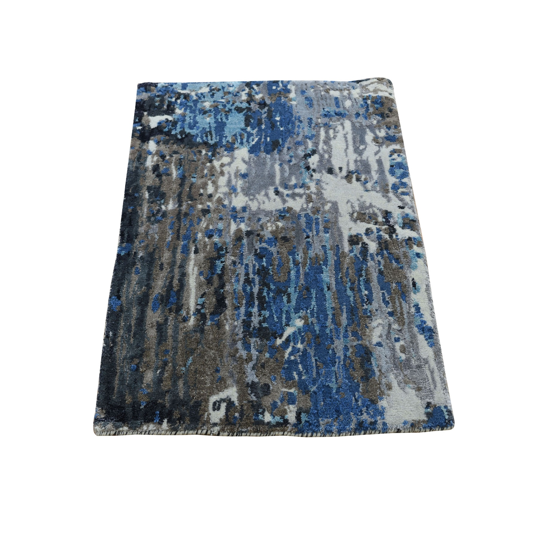 2'X3' Sample Blue-Gray Abstract Design Wool And Silk Hand Knotted Oriental Rug moad8099
