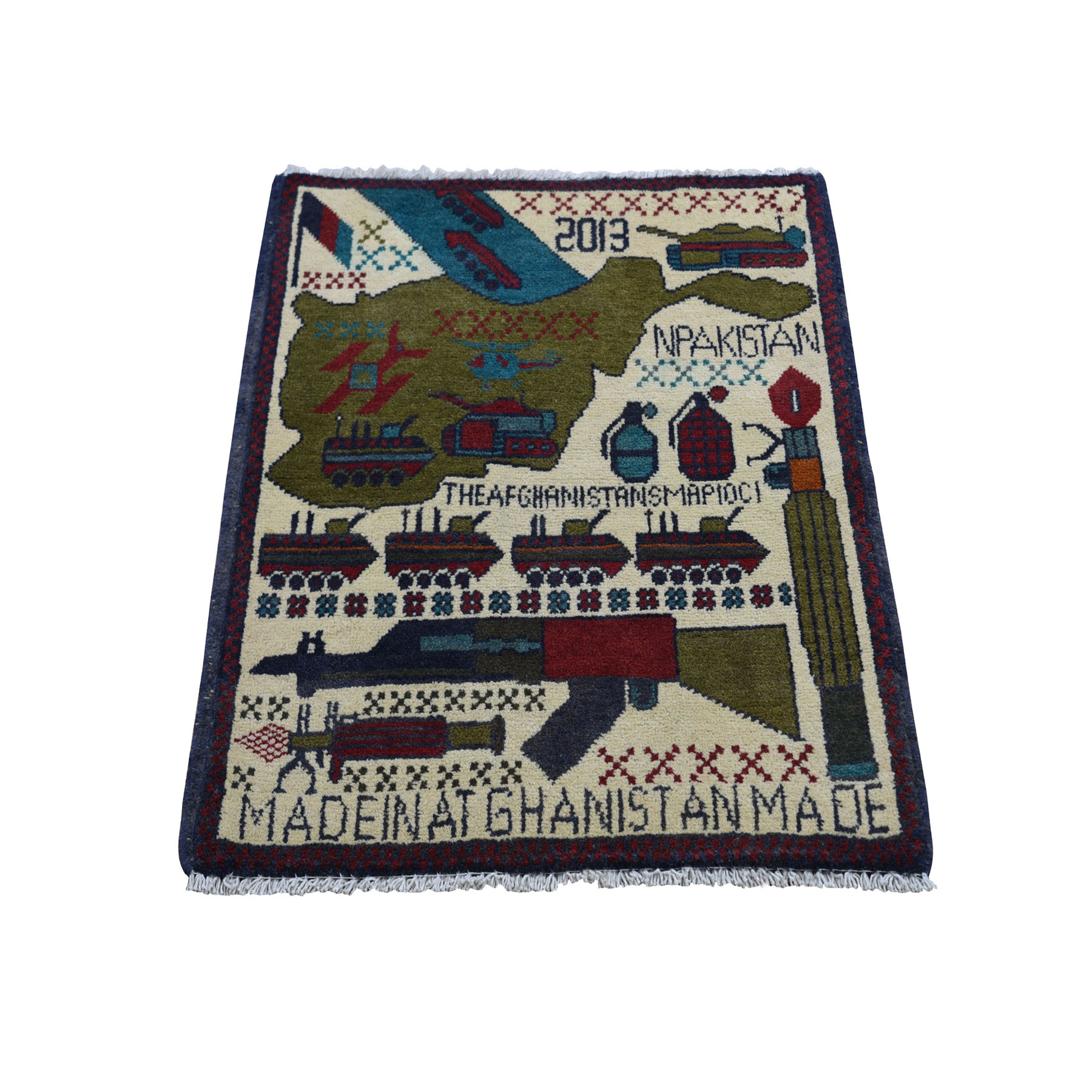 "2'X2'5"" Hand Knotted Afghan War Guns And Tanks Design Oriental Rug moad8a00"