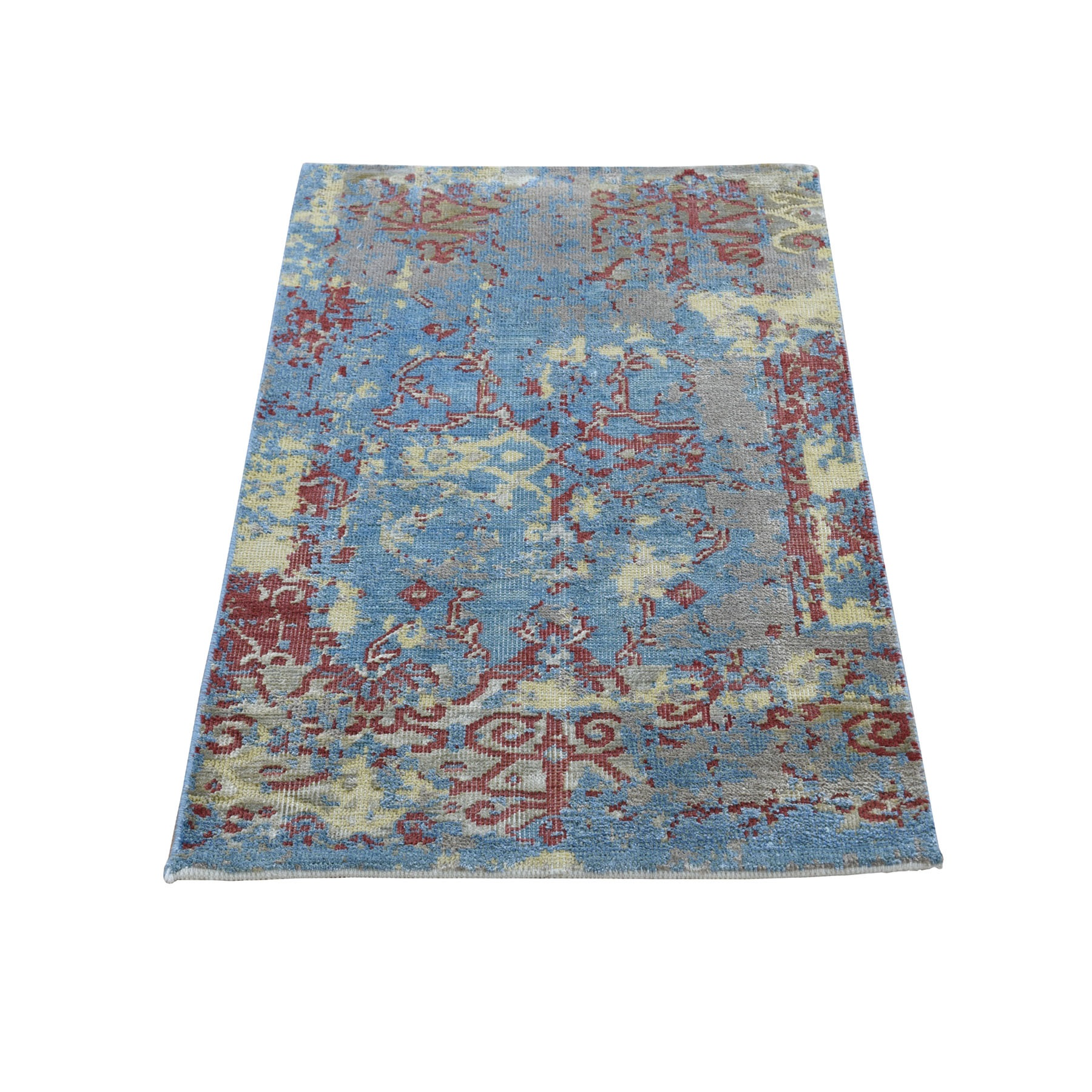 2'X3' Silk With Textured Wool Broken Design Hand Knotted Oriental Rug moad8a0a