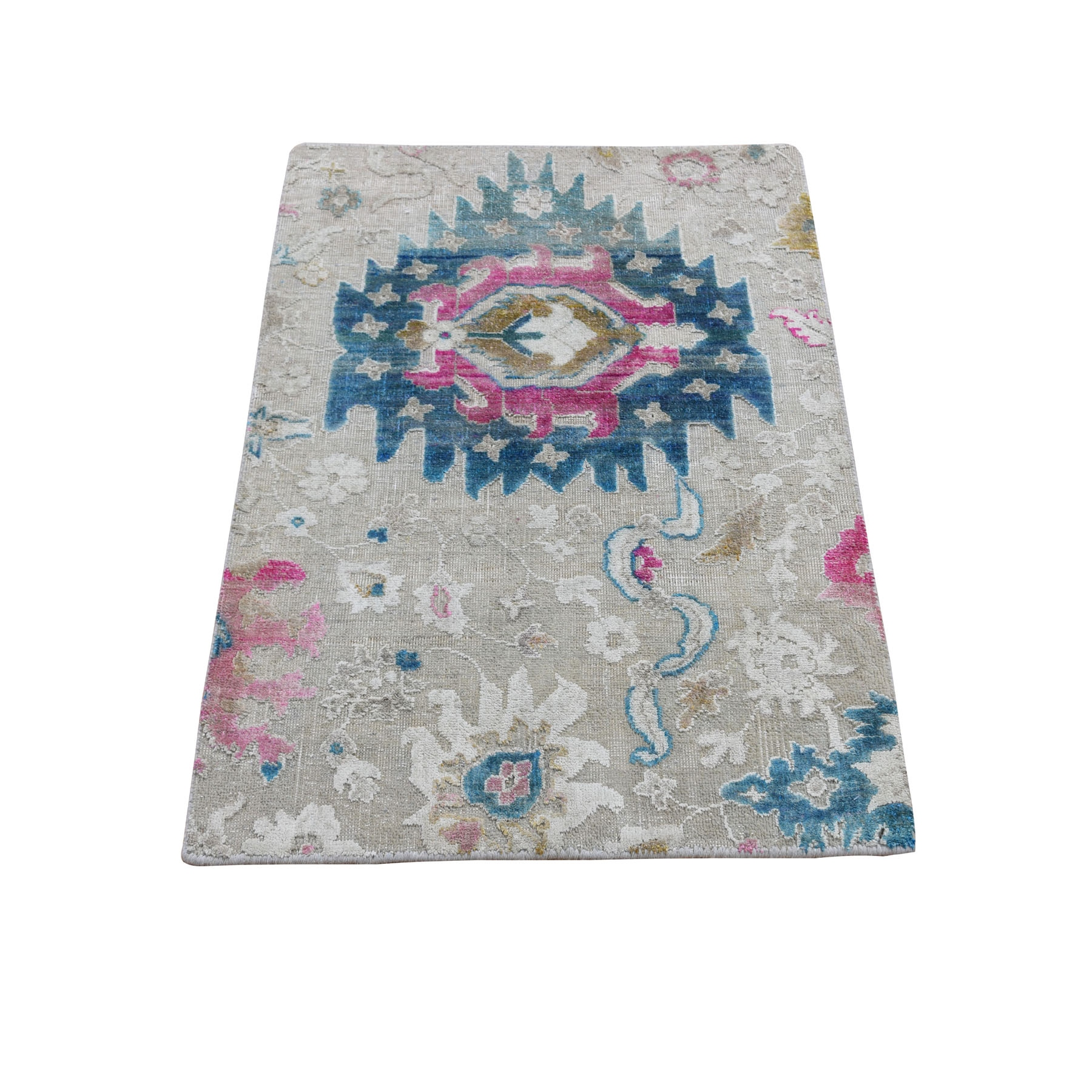 2'X3' Colorful Sari Silk With Textured Wool Hand Knotted Oushak Influence Rug moad8a0d