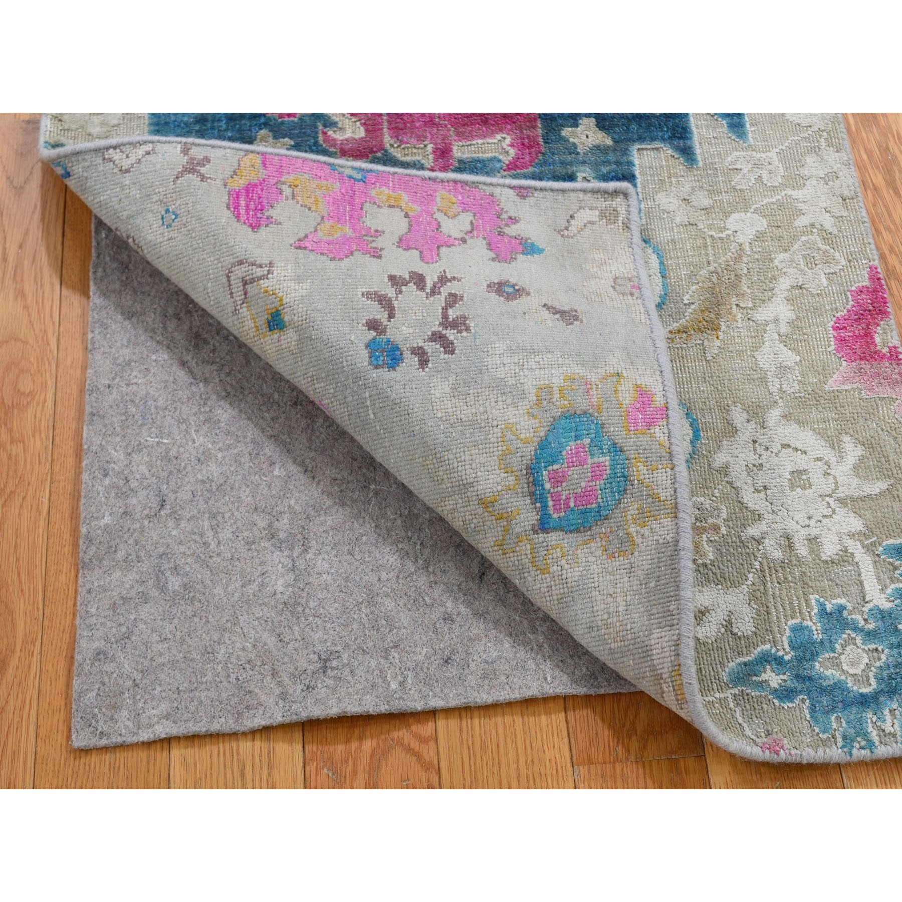 2-x3- Colorful Sari Silk With Textured Wool Hand Knotted Oushak Influence Rug