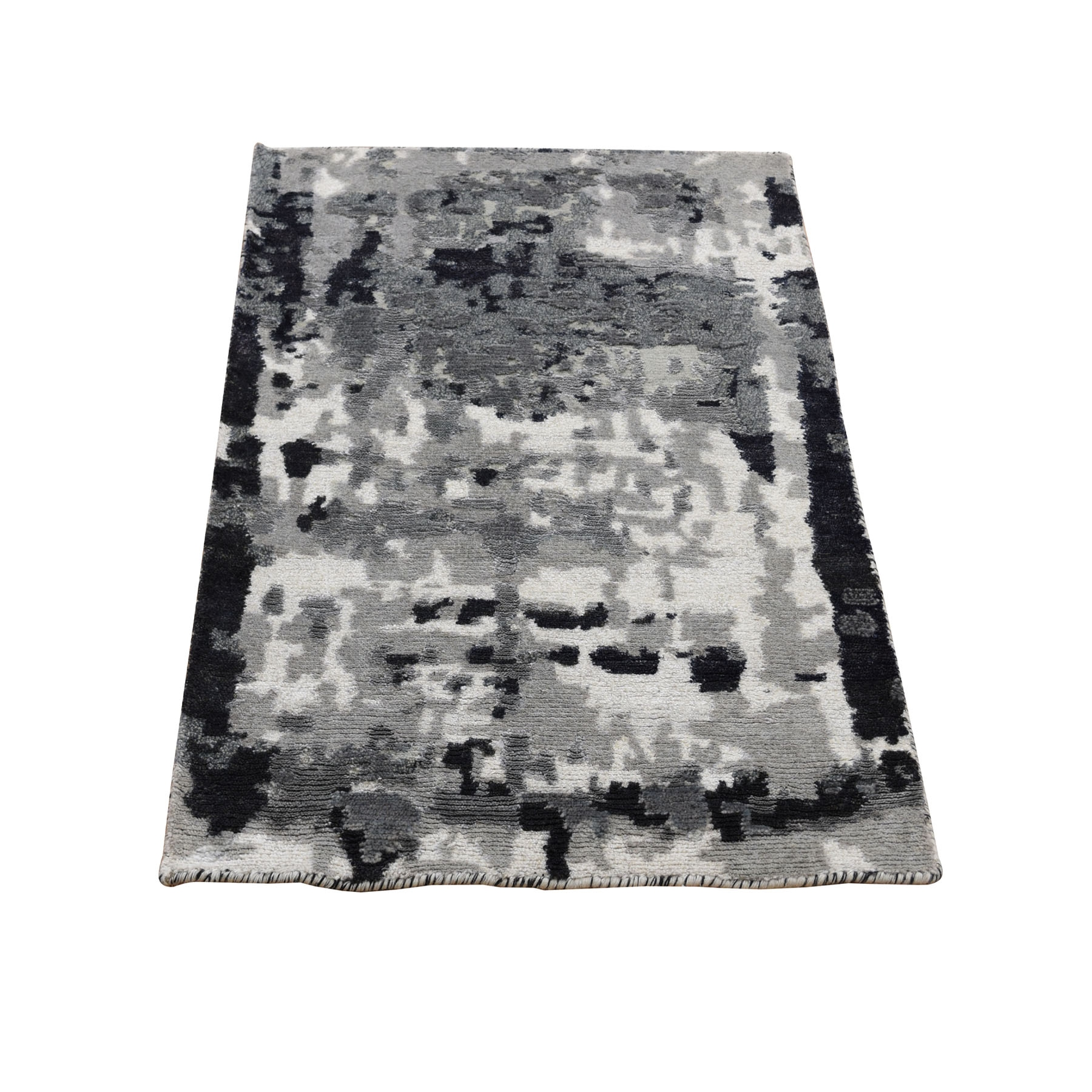 2'X3' Black Abstract Design Hi-Lo Pile Wool And Silk Hand Knotted Oriental Rug moad8aad