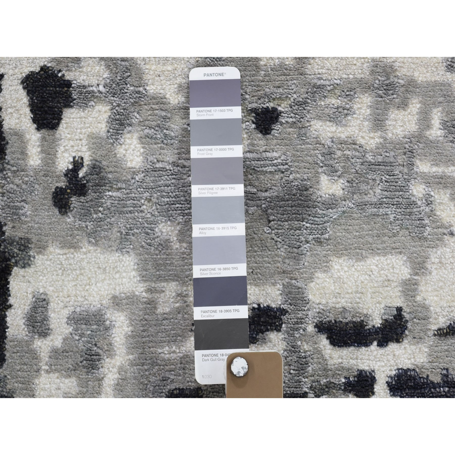 2-x3- Black Abstract Design Hi-Lo Pile Wool And Silk Hand Knotted Oriental Rug