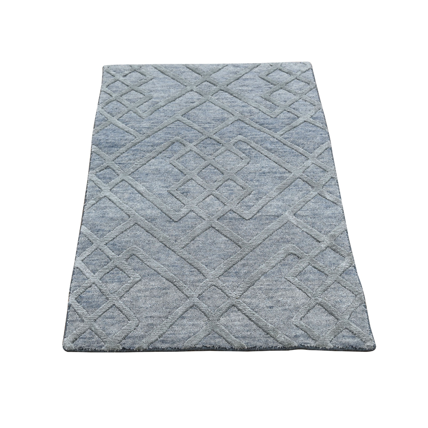 2'x3' Gray Wool And Silk Modern Hi Low Pile hand Knotted Oriental Rug