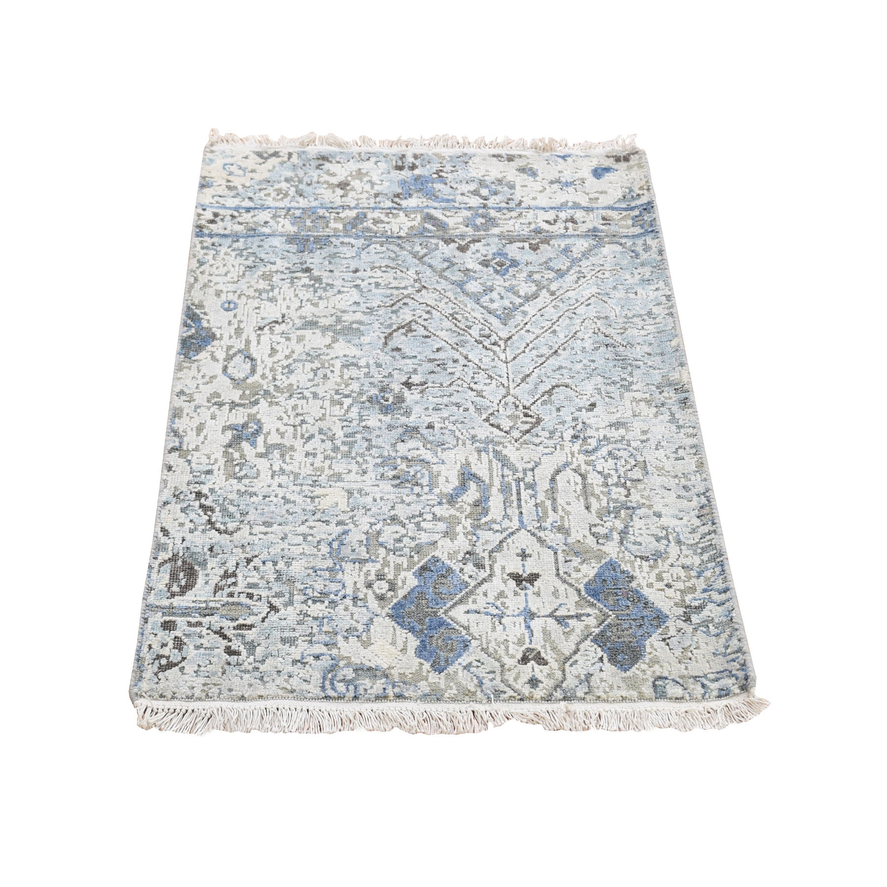 Distressed Oushak Pure Silk With Textured Wool Hand Knotted Oriental Rug moad8aa8