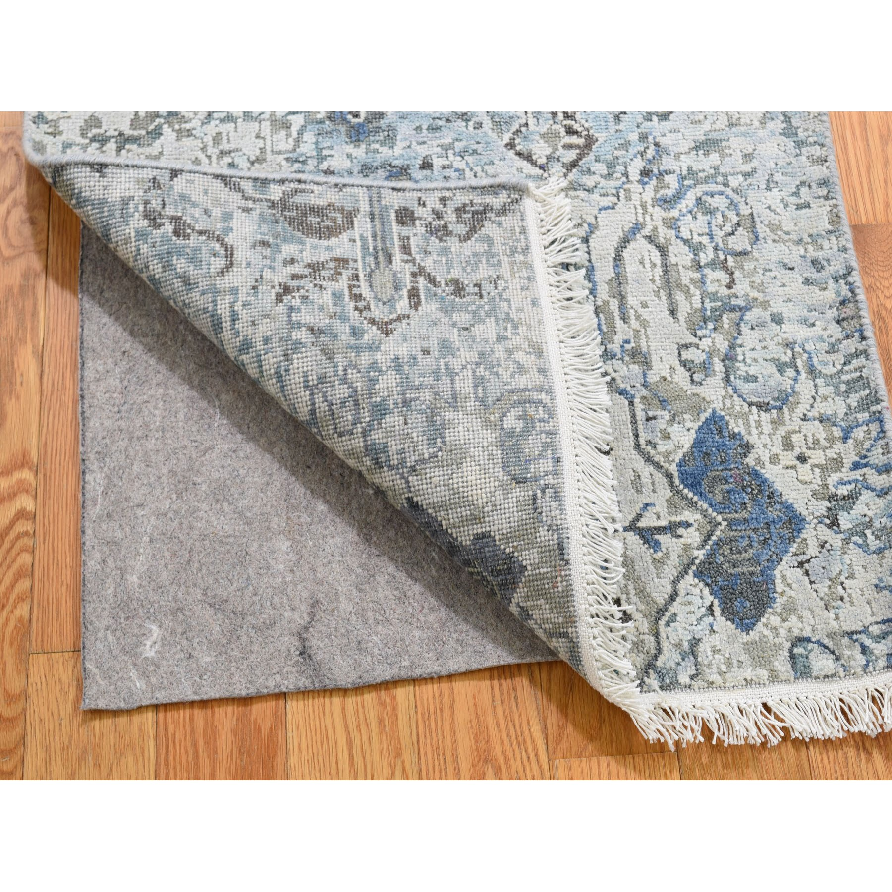 2-x3-1  Distressed Oushak Pure Silk With Textured Wool Hand Knotted Oriental Rug