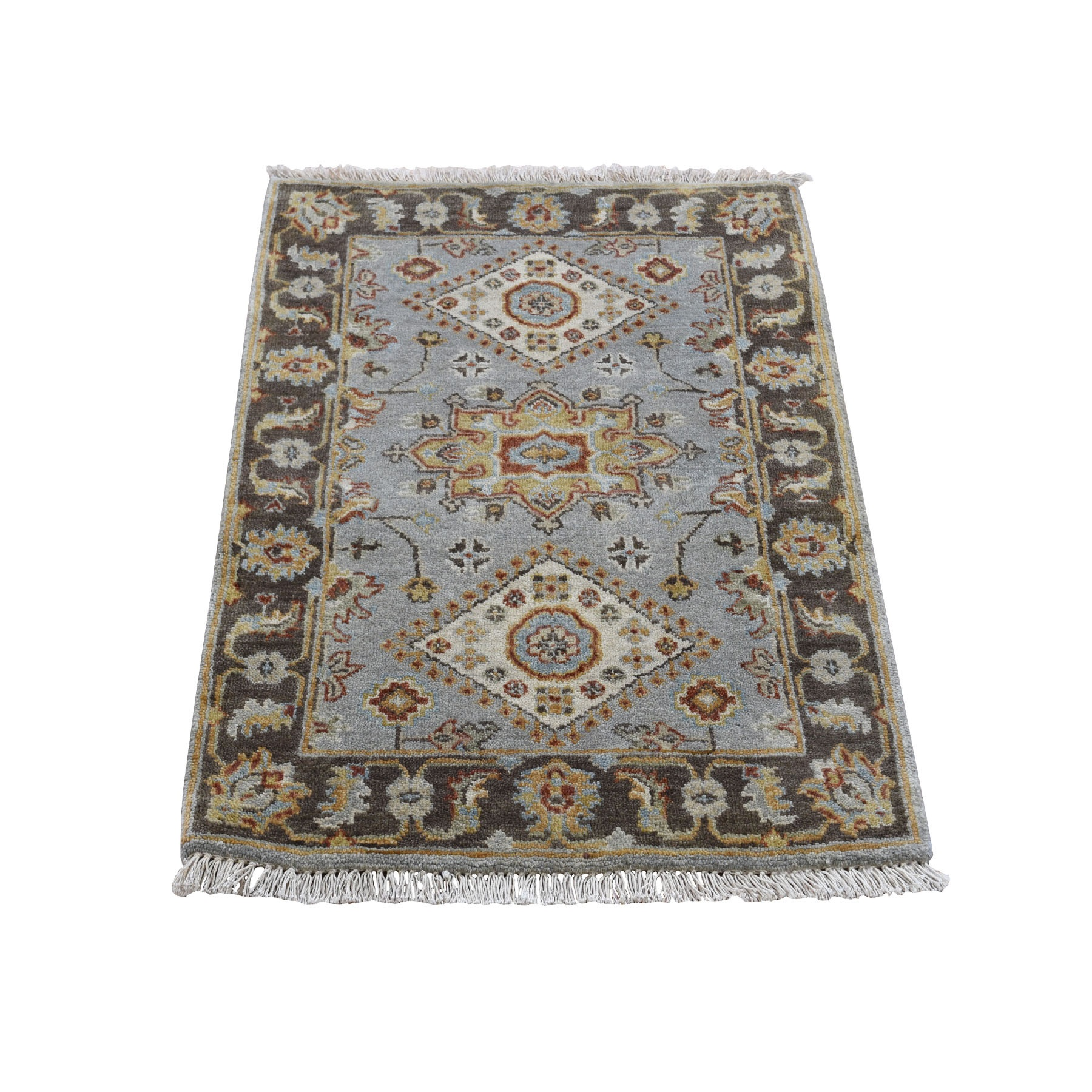"""2'1""""X3' Gray Karajeh Design Pure Wool Hand Knotted Oriental Rug moad8ab0"""