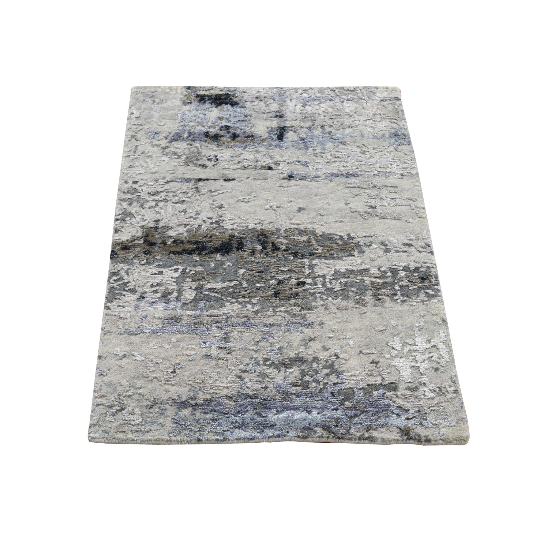 2'X3' Hand Knotted Gray Abstract Design Wool And Silk Oriental Rug moad8aba