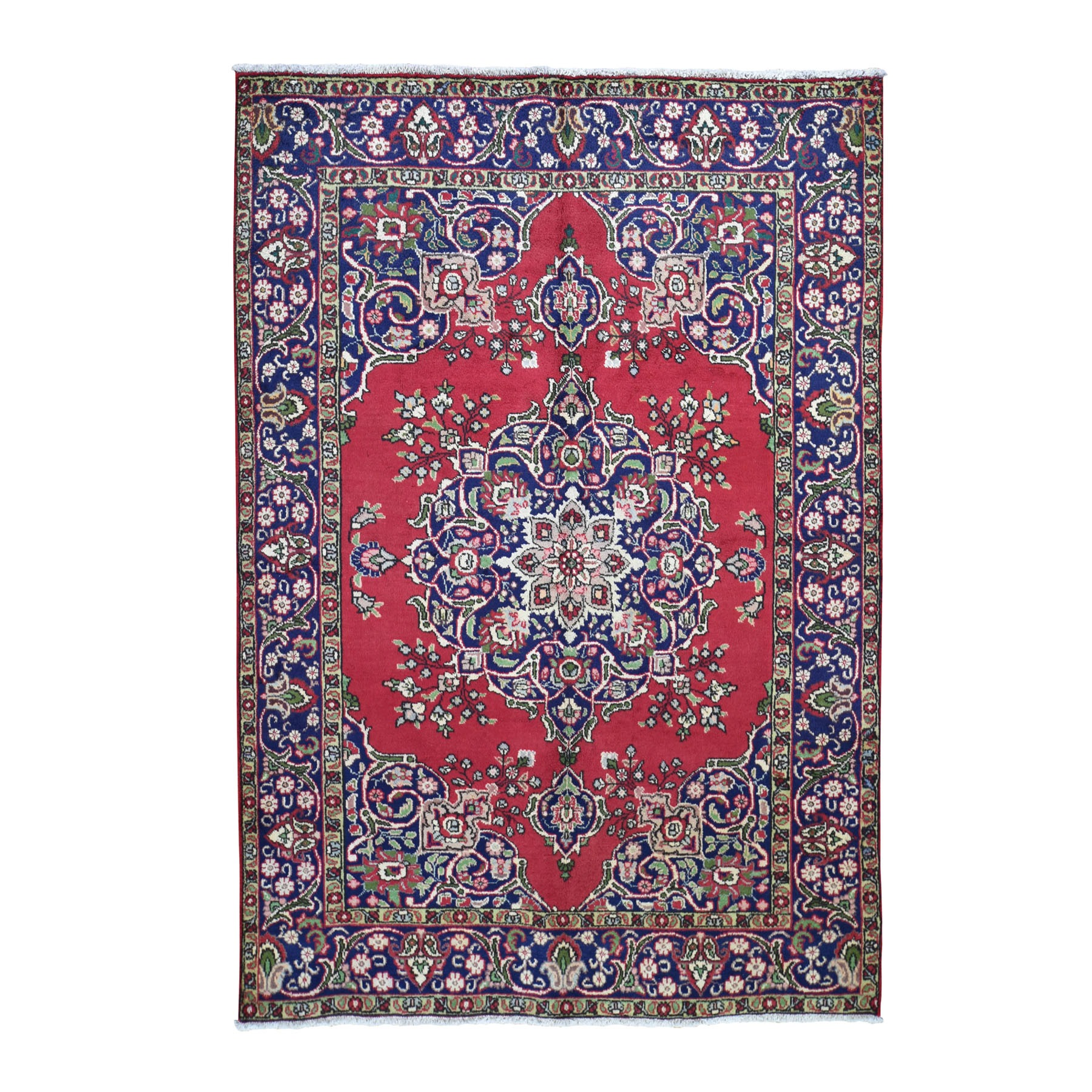 """6'6""""X9' Red Semi Antique Persian Tabriz Pure Wool Exc Condition Hand Knotted Oriental Rug moad8abb"""