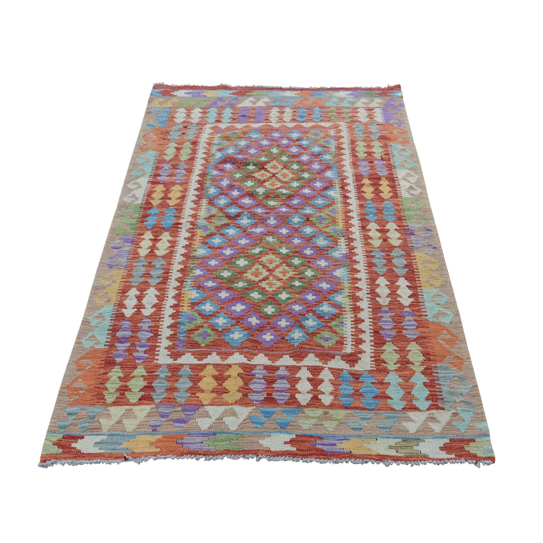 "4'3""X6'4"" Colorful Afghan Kilim Pure Wool Hand Woven Oriental Rug moad8ab6"