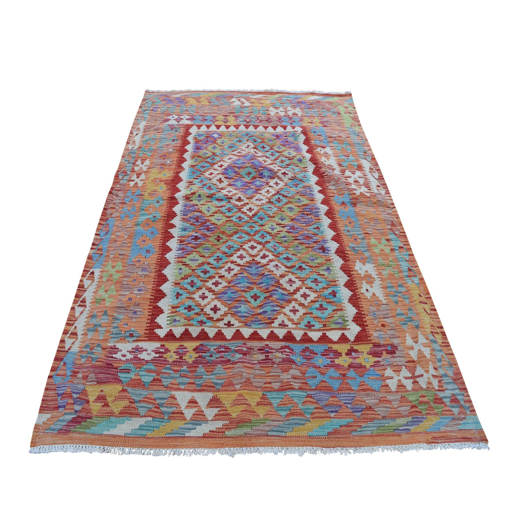 "4'3""x5'8"" Colorful Afghan Kilim Pure Wool Hand Woven Oriental Rug"