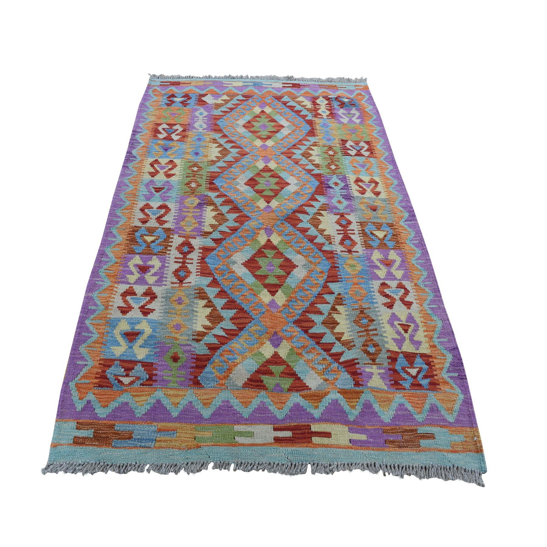 """3'4""""X4'10"""" Colorful Afghan Kilim Pure Wool Hand Woven Oriental Rug moad8acb"""