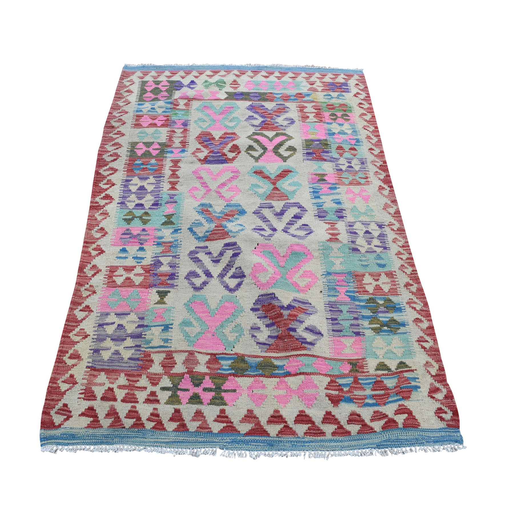 """3'2""""X4'10"""" Colorful Afghan Kilim Pure Wool Hand Woven Oriental Rug moad8acc"""