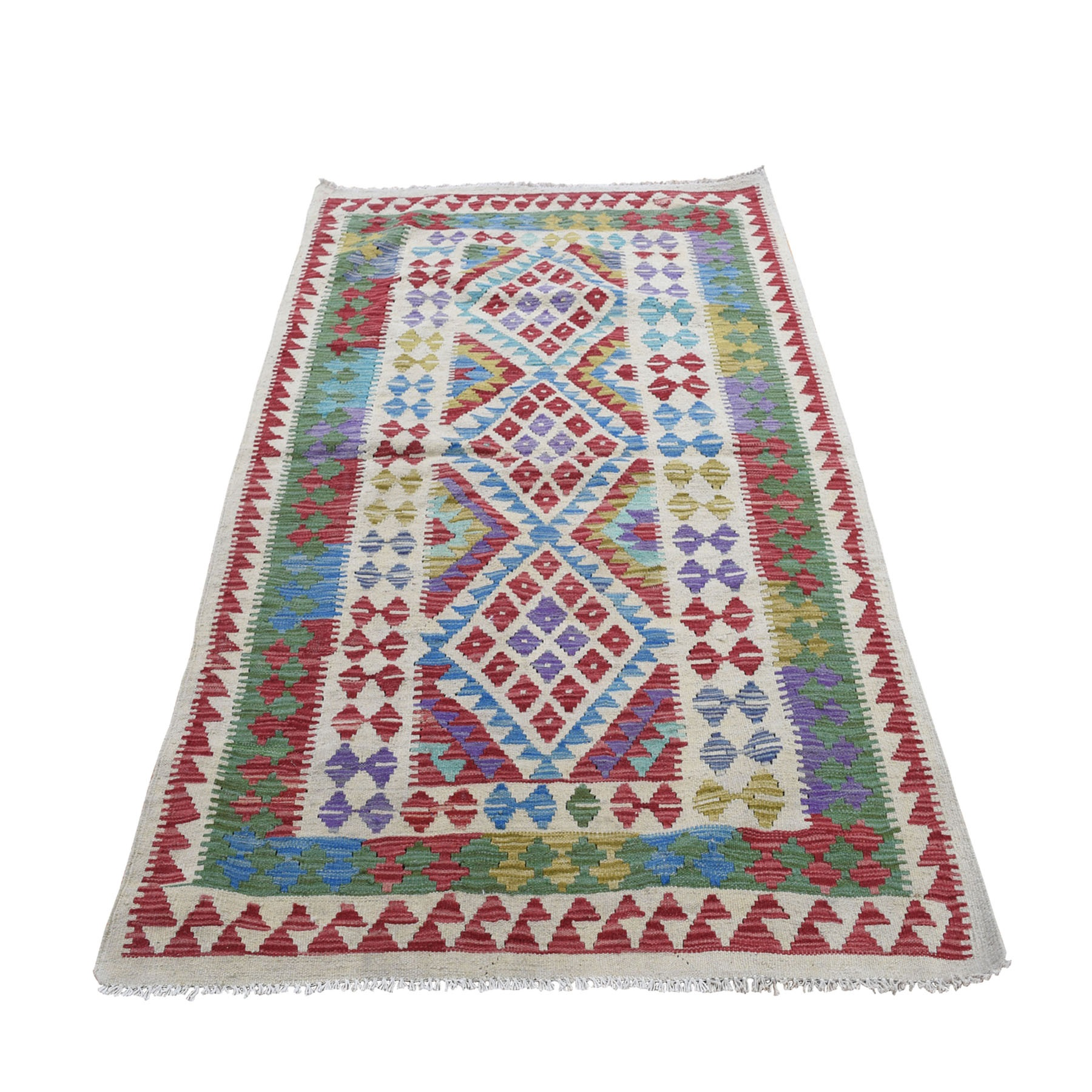 """3'7""""X6' Veggie Dyes Afghan Kilim Pure Wool Hand Woven Oriental Rug moad8acd"""