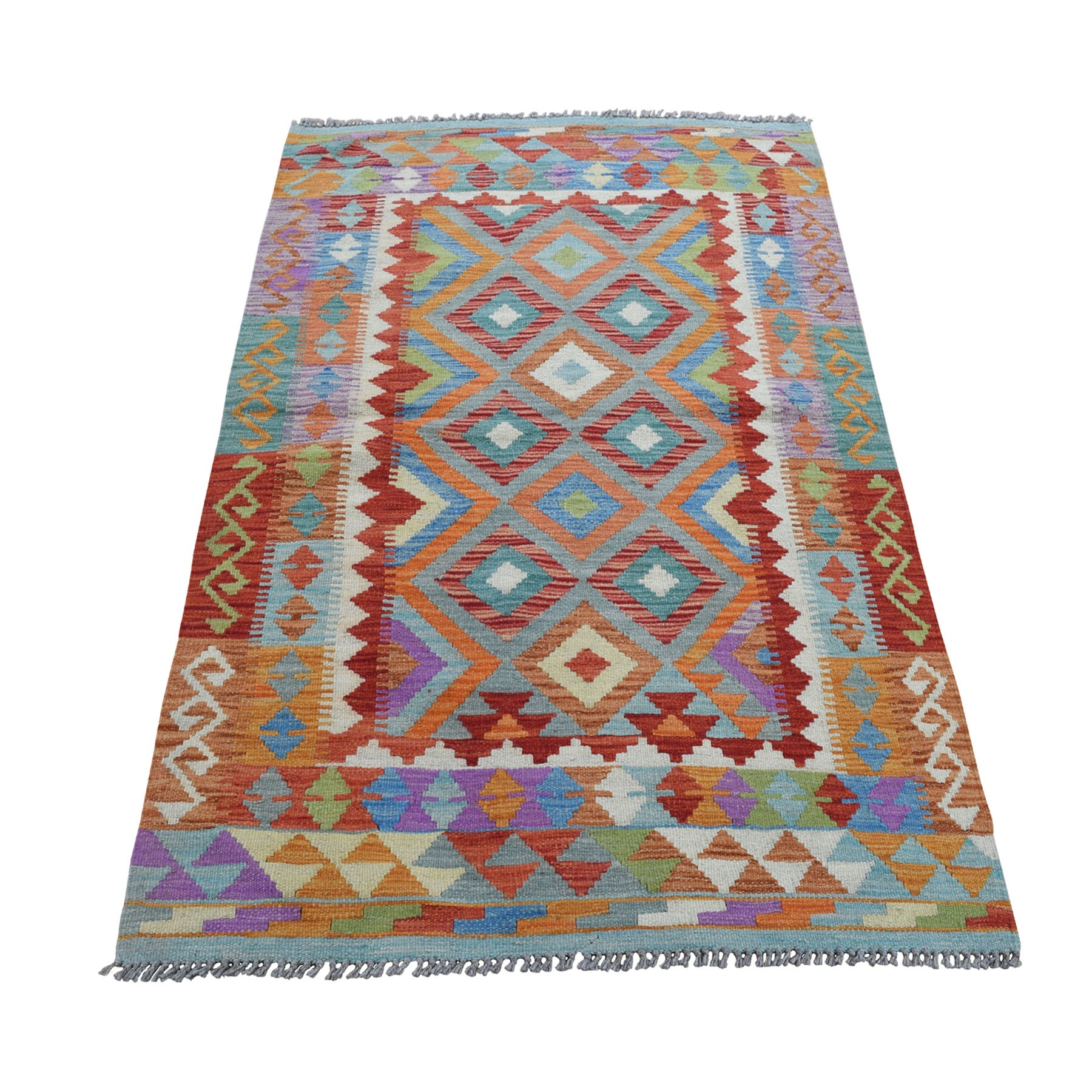 """3'3""""X5' Veggie Dyes Afghan Kilim Pure Wool Hand Woven Oriental Rug moad8ace"""