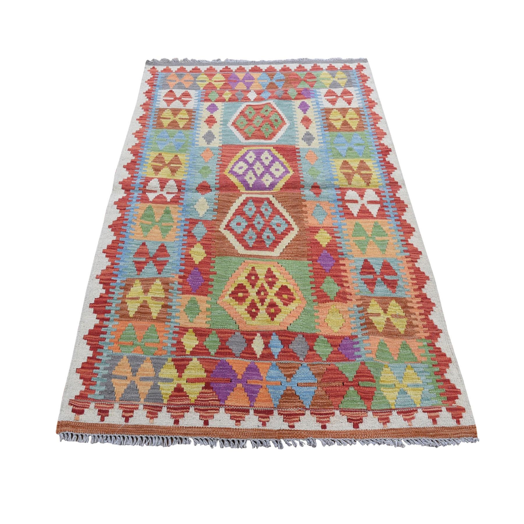 "3'4""X4'9"" Veggie Dyes Afghan Kilim Pure Wool Hand Woven Oriental Rug moad8ac6"