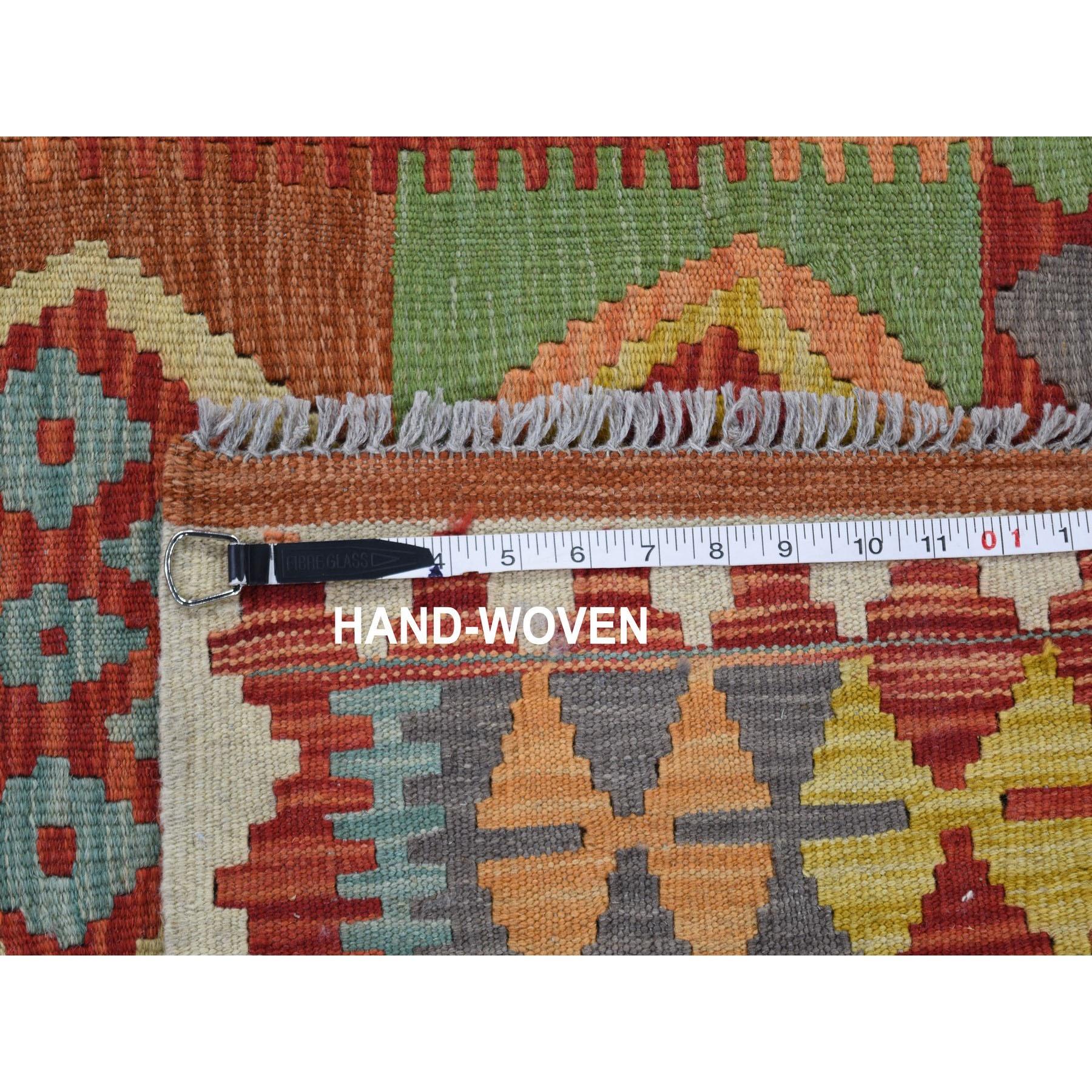 3-4 x4-9  Veggie Dyes Afghan Kilim Pure Wool Hand Woven Oriental Rug